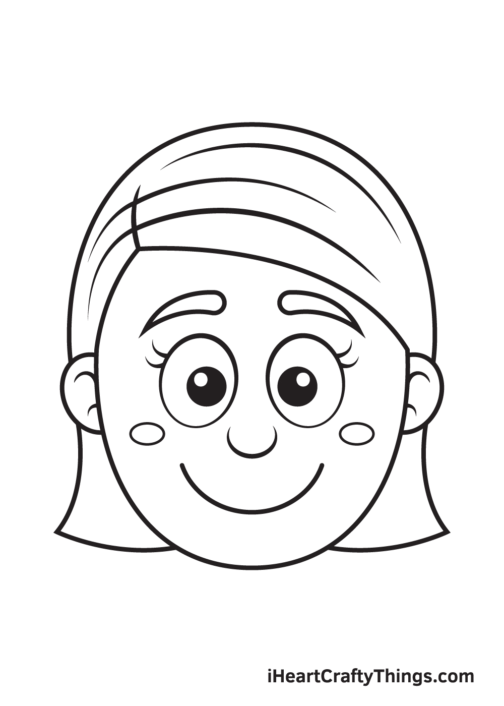 Girl Face Drawing – Step 9