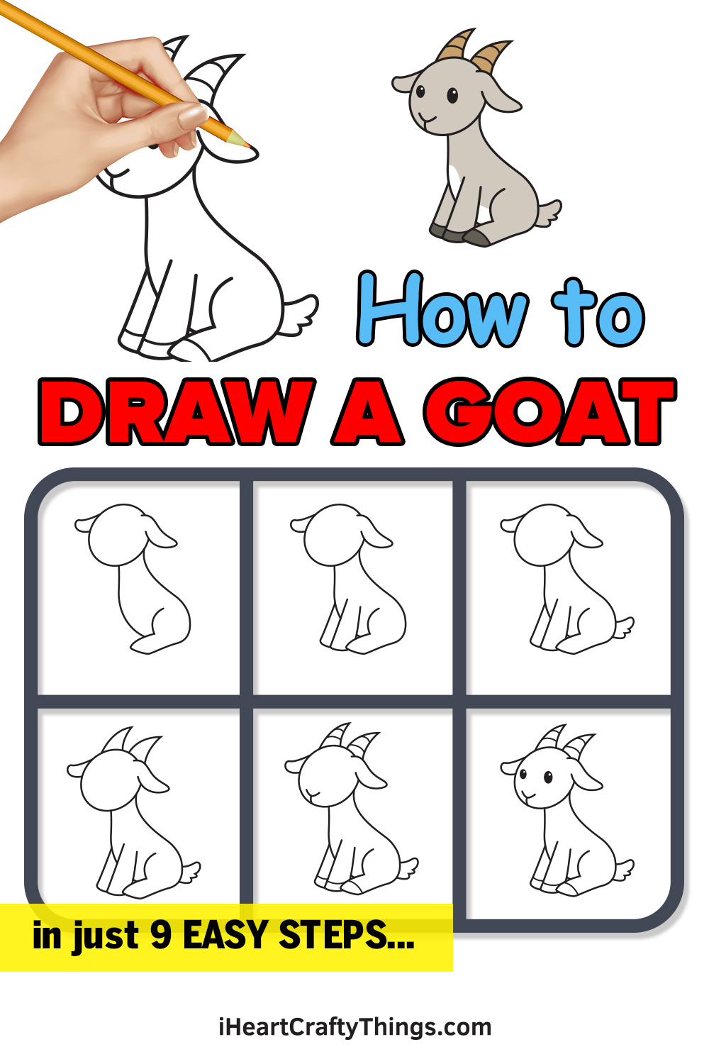 how to draw a goat in 9 easy steps