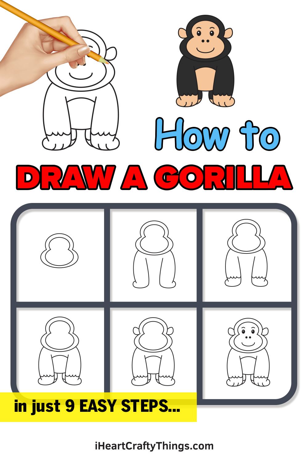 how to draw a gorilla in 9 easy steps