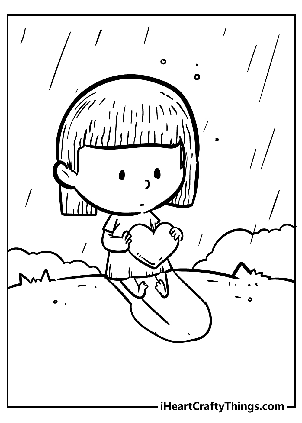 heart coloring page for kids