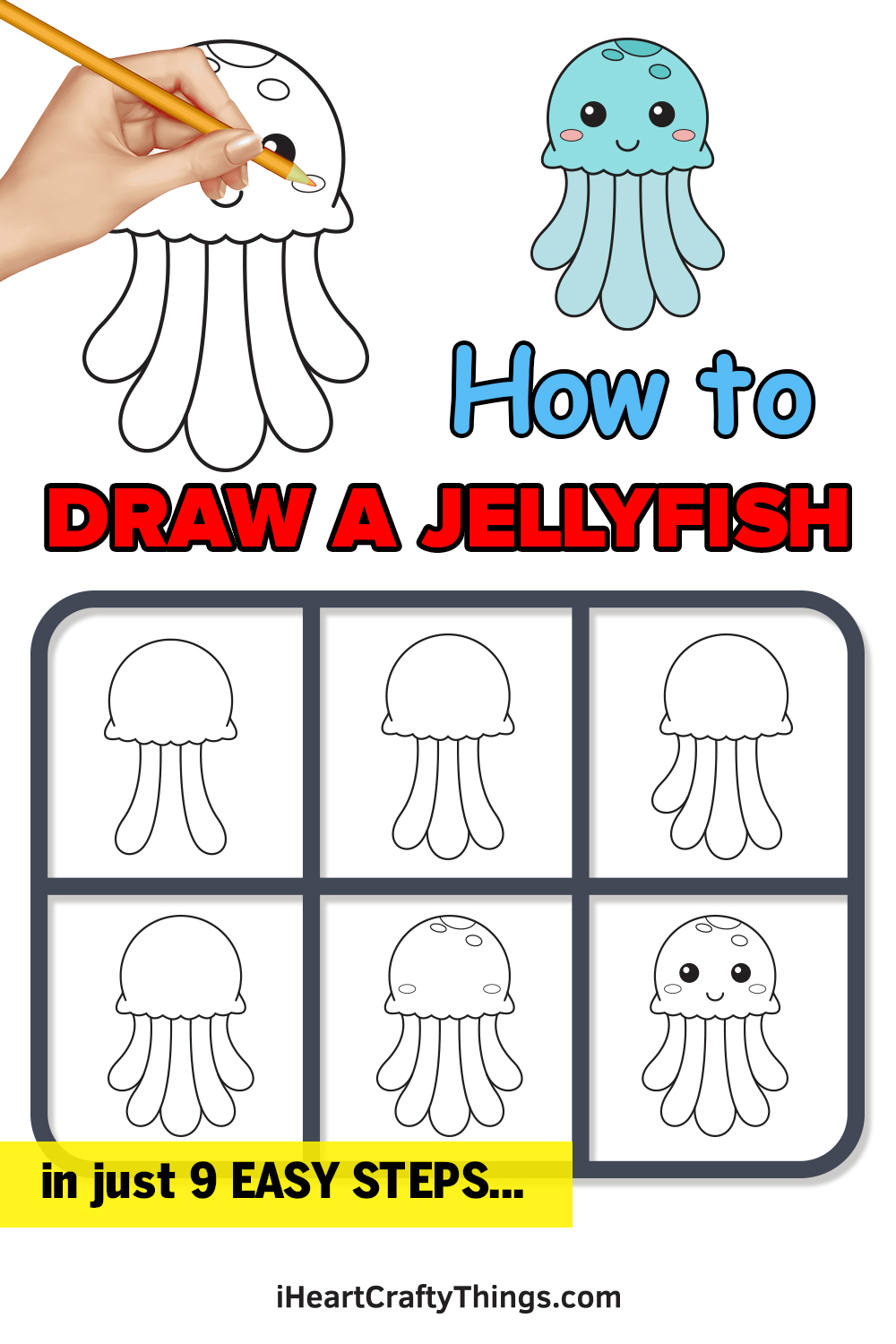 how to draw jellyfish in 9 easy steps