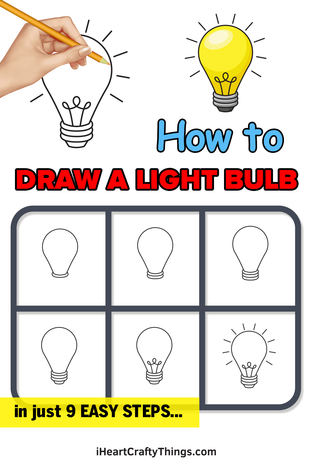 how to draw a light bulb in 9 easy steps