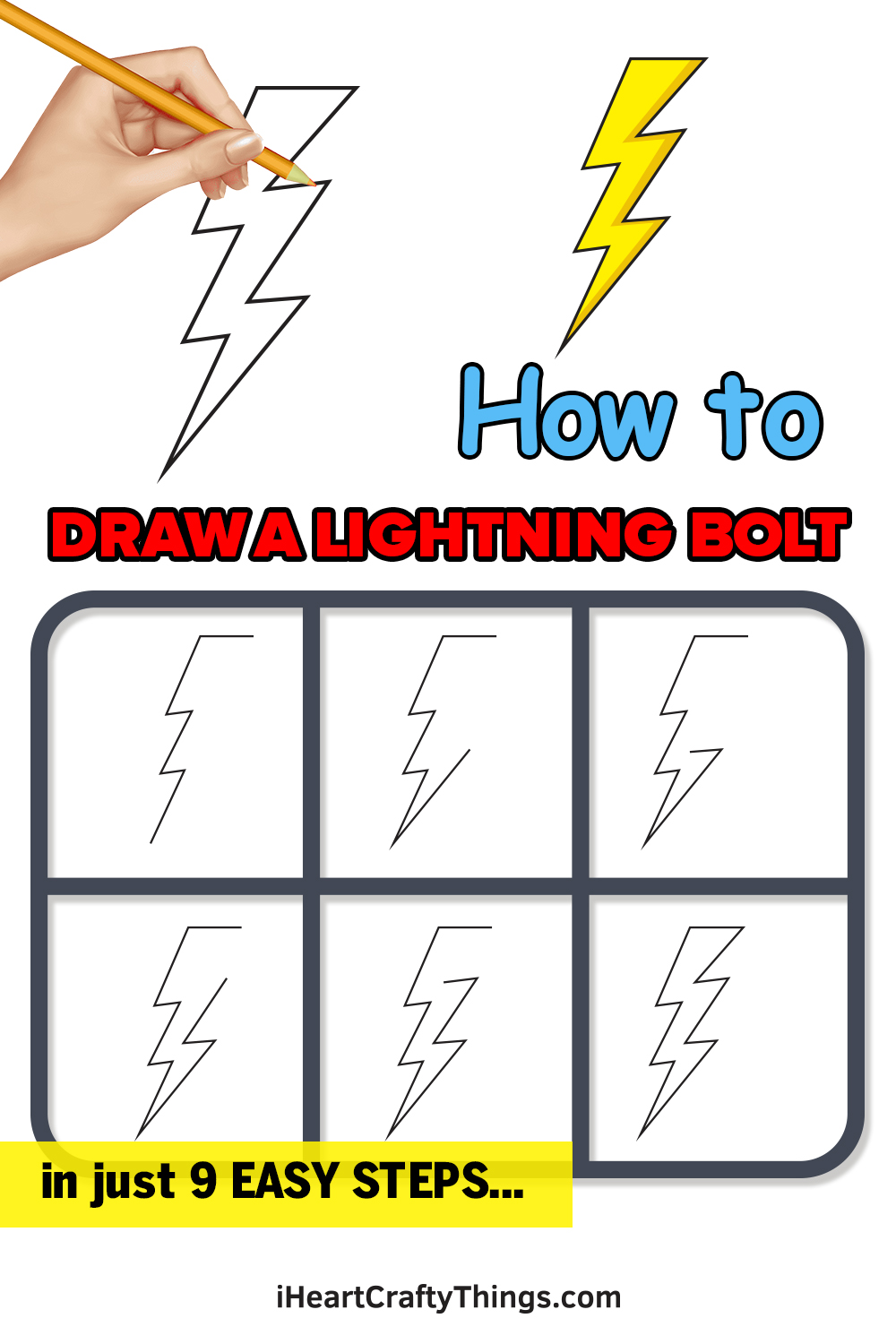 how to draw a lightning bolt in 9 easy steps