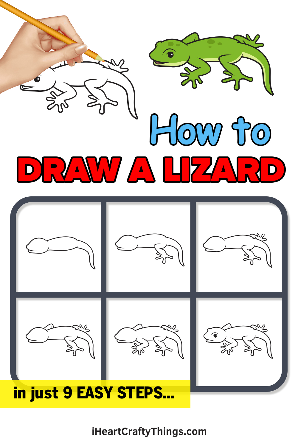 how to draw a lizard in 9 easy steps