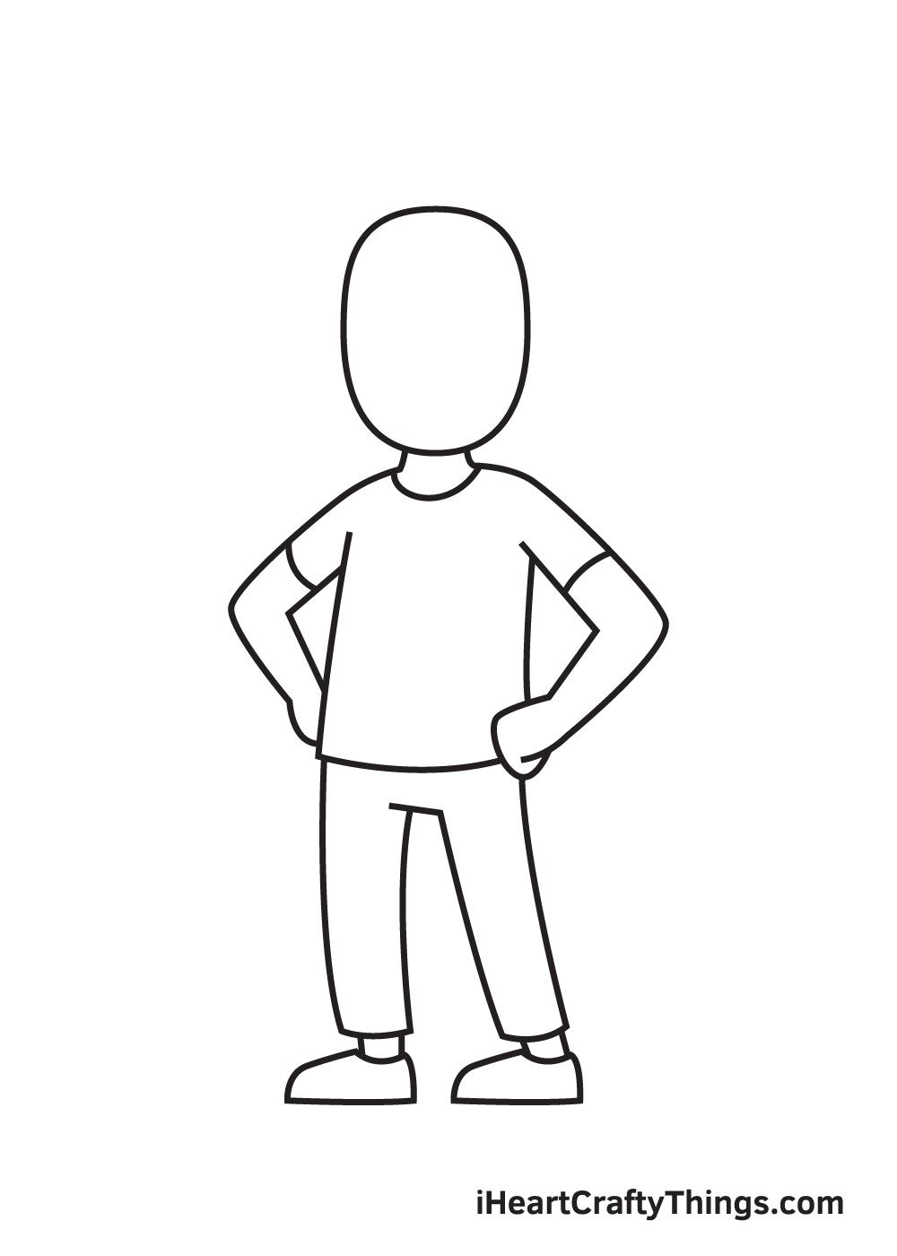 man drawing step 7