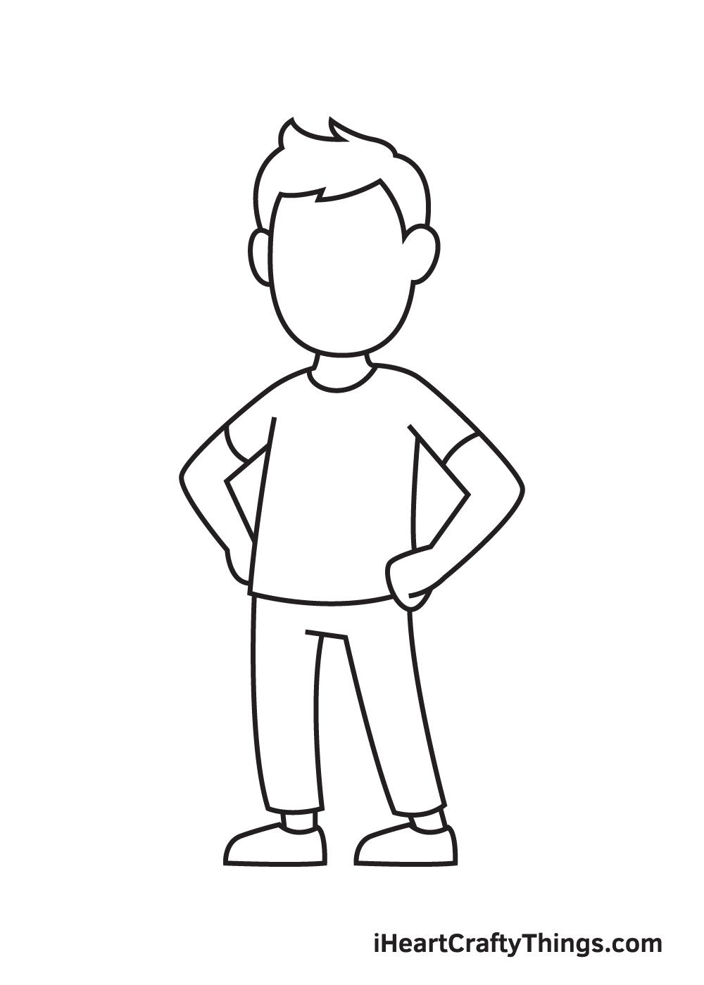 man drawing step 8
