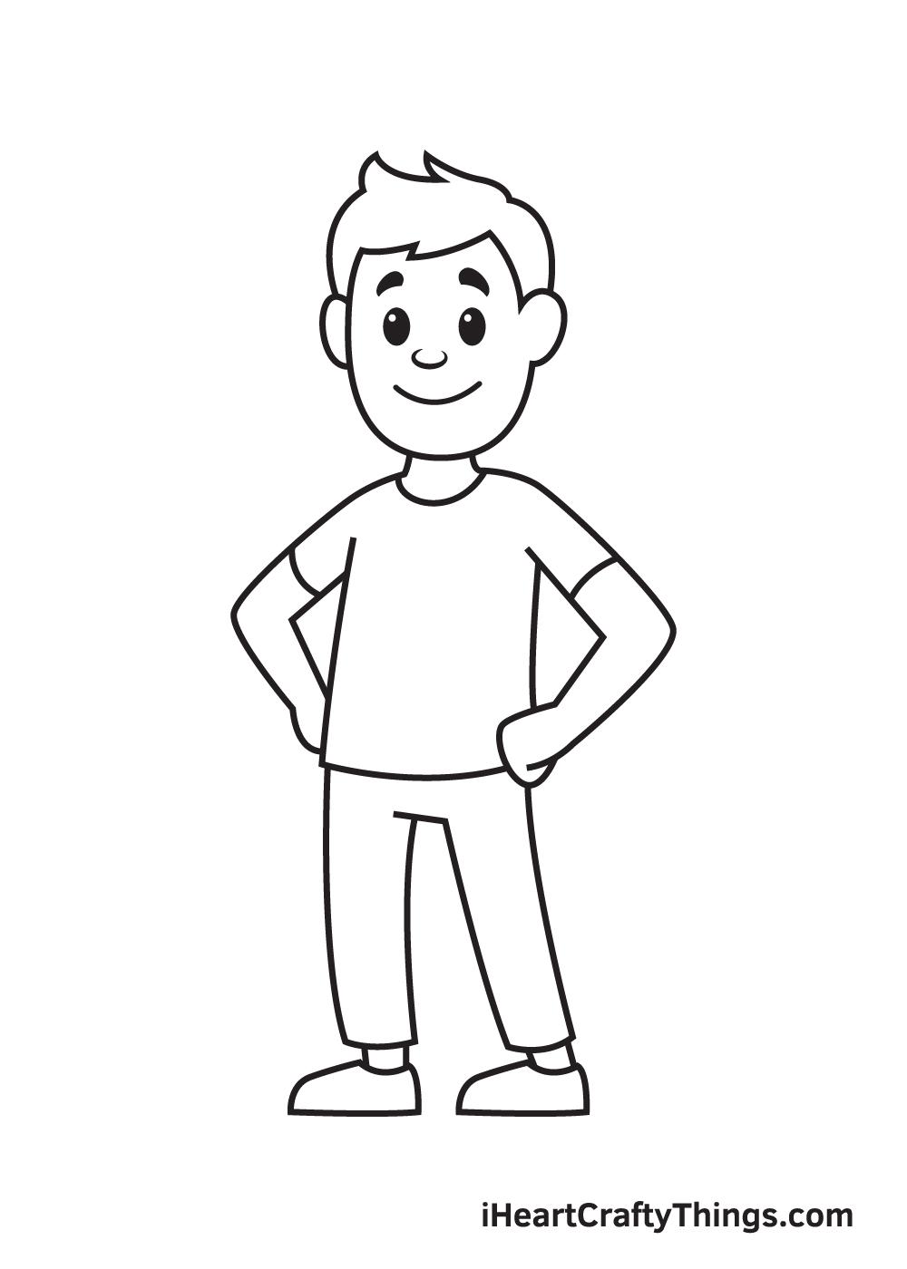 man drawing step 9