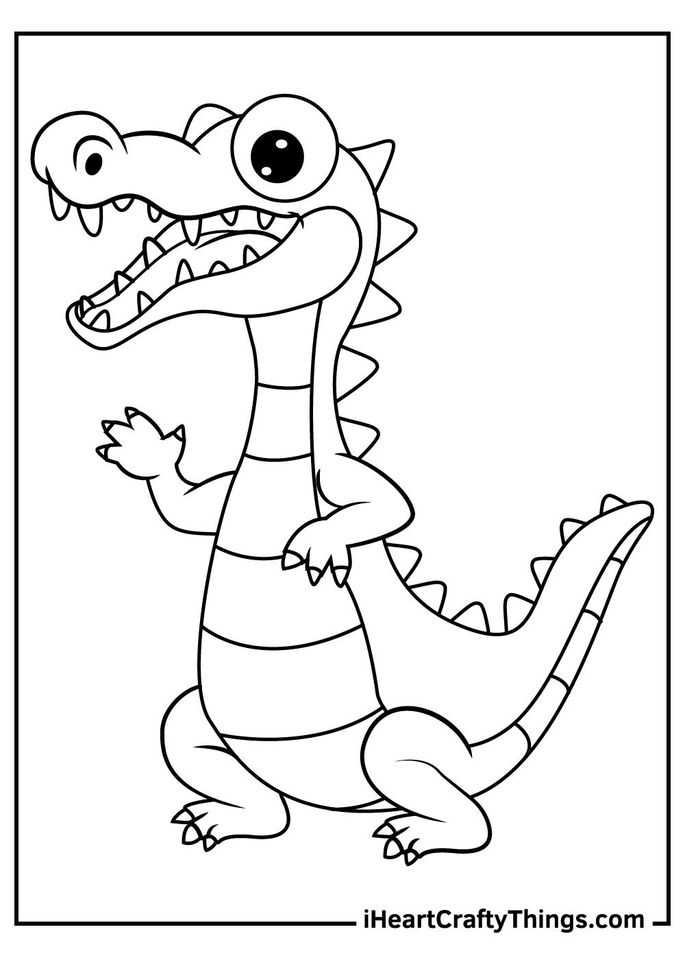cute alligator black and white free printable pdf