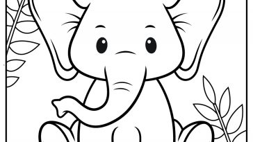cute baby elephant free coloring pages