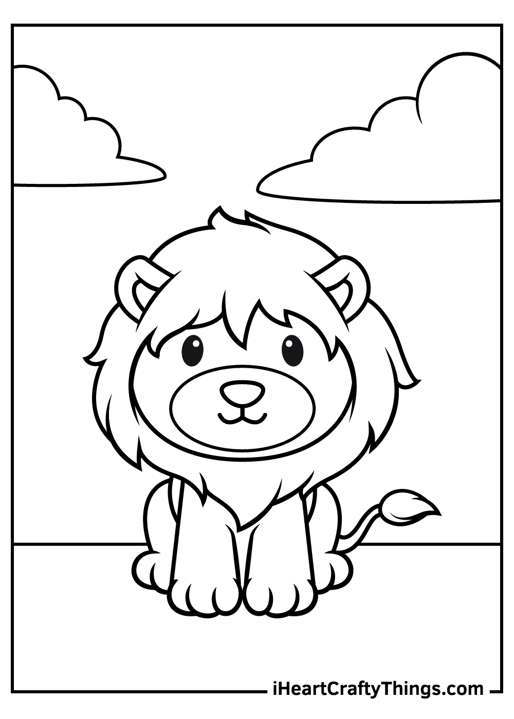 cute baby lion free coloring pages