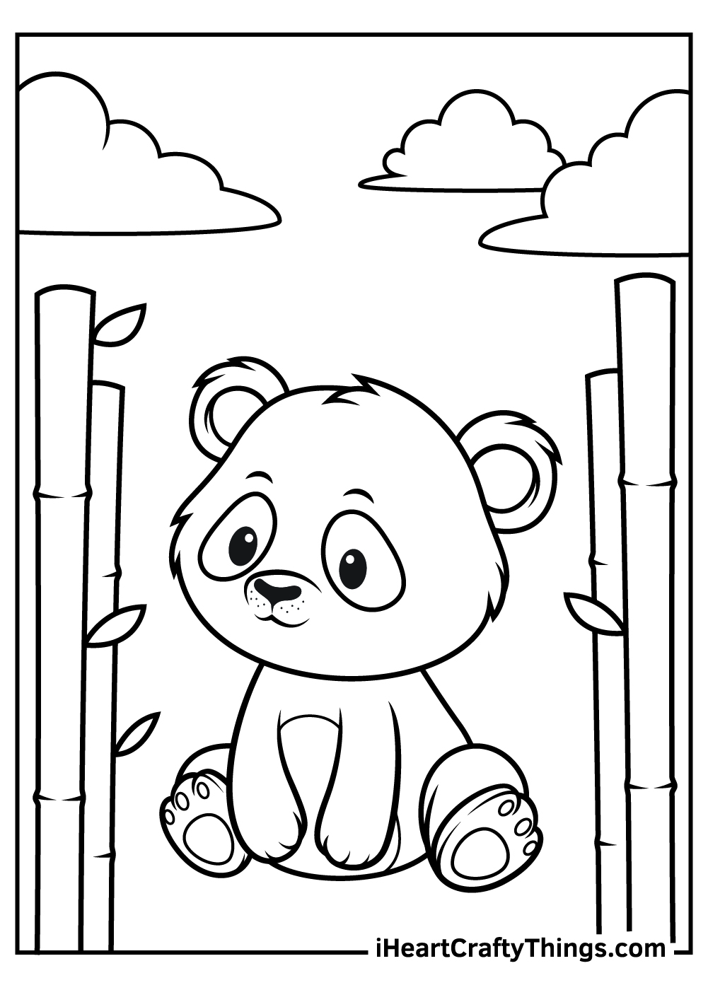 printable baby panda animals coloring pages