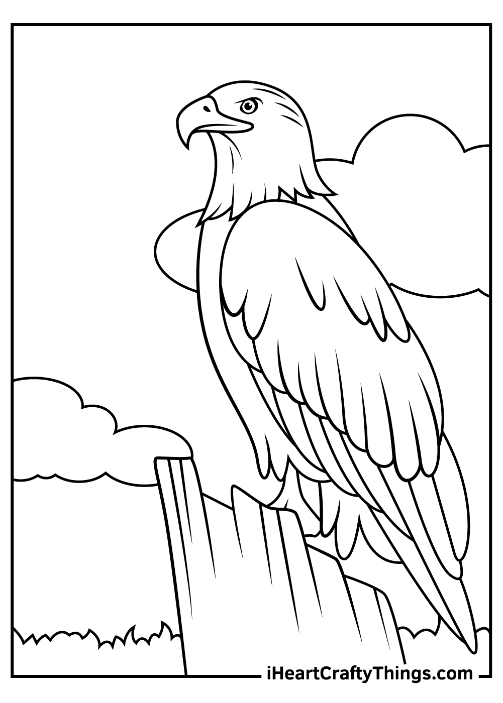 black and white bald eagle coloring pages