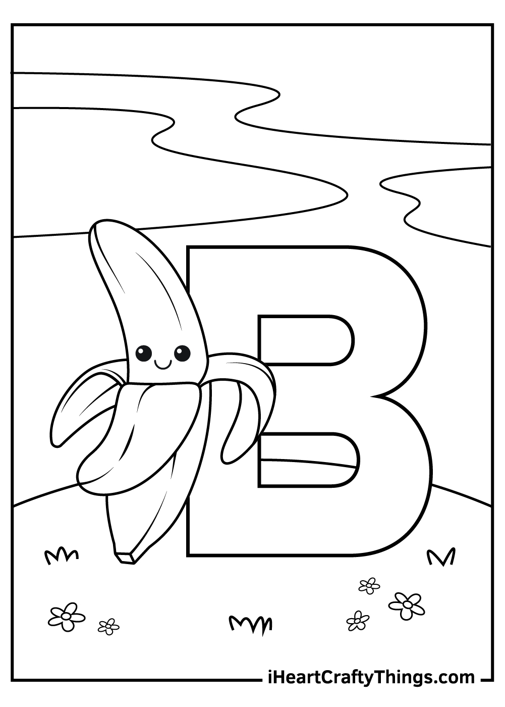 b is for banana coloring pages free printable