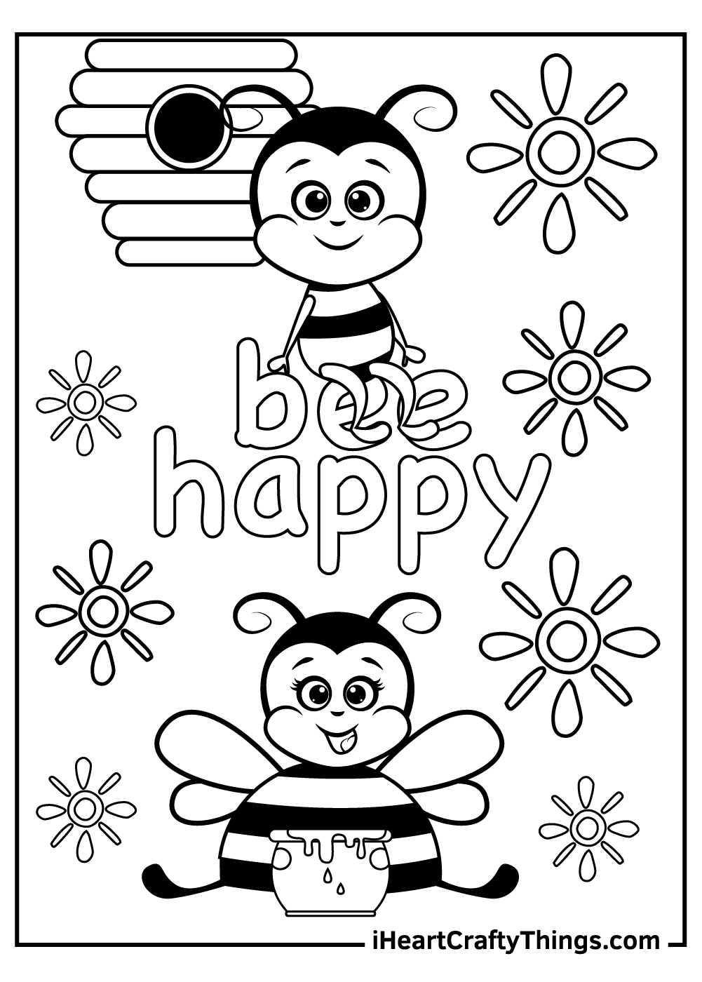 happy bee coloring pages free printables