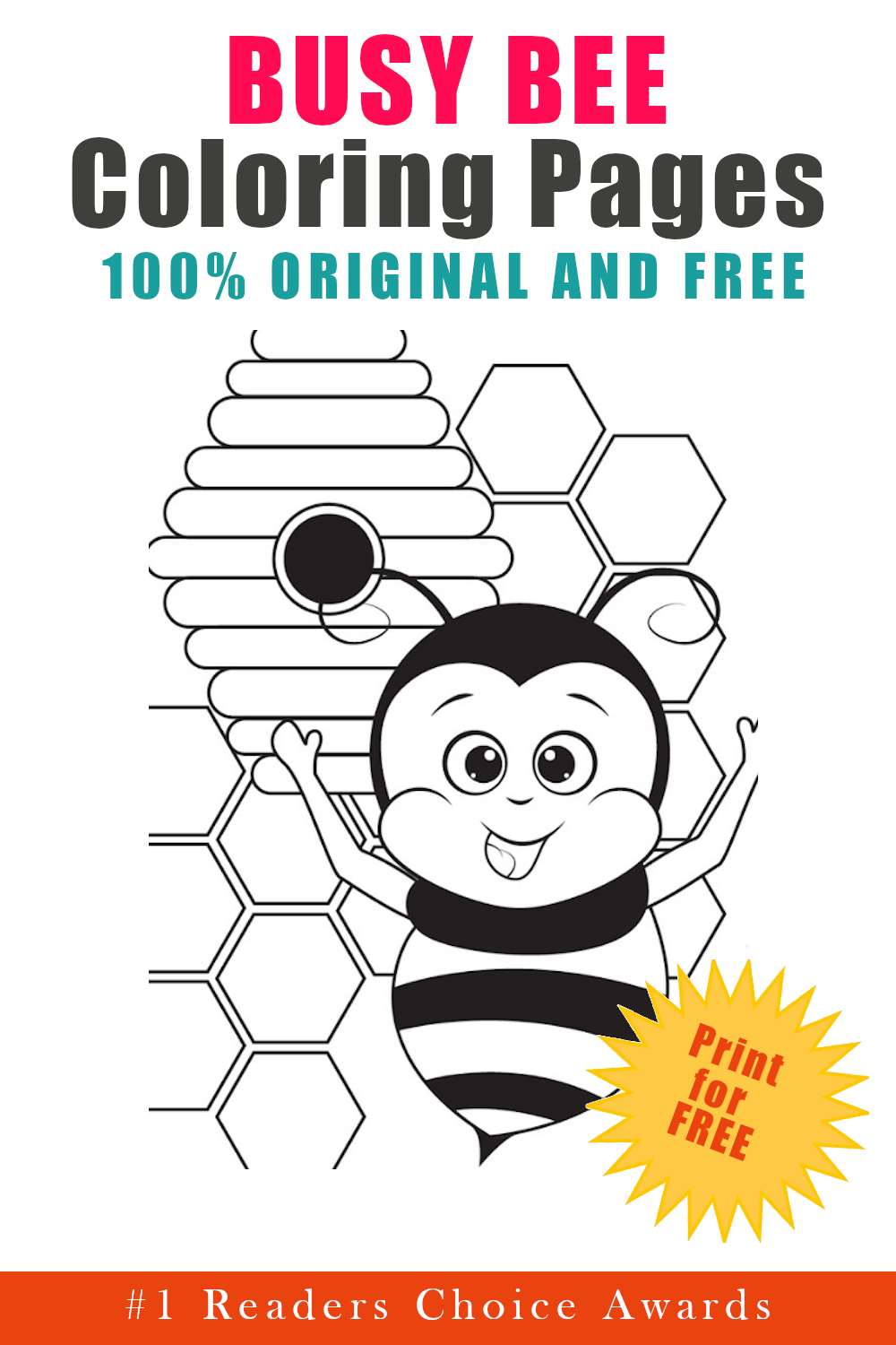 original and free busy bee coloring pages
