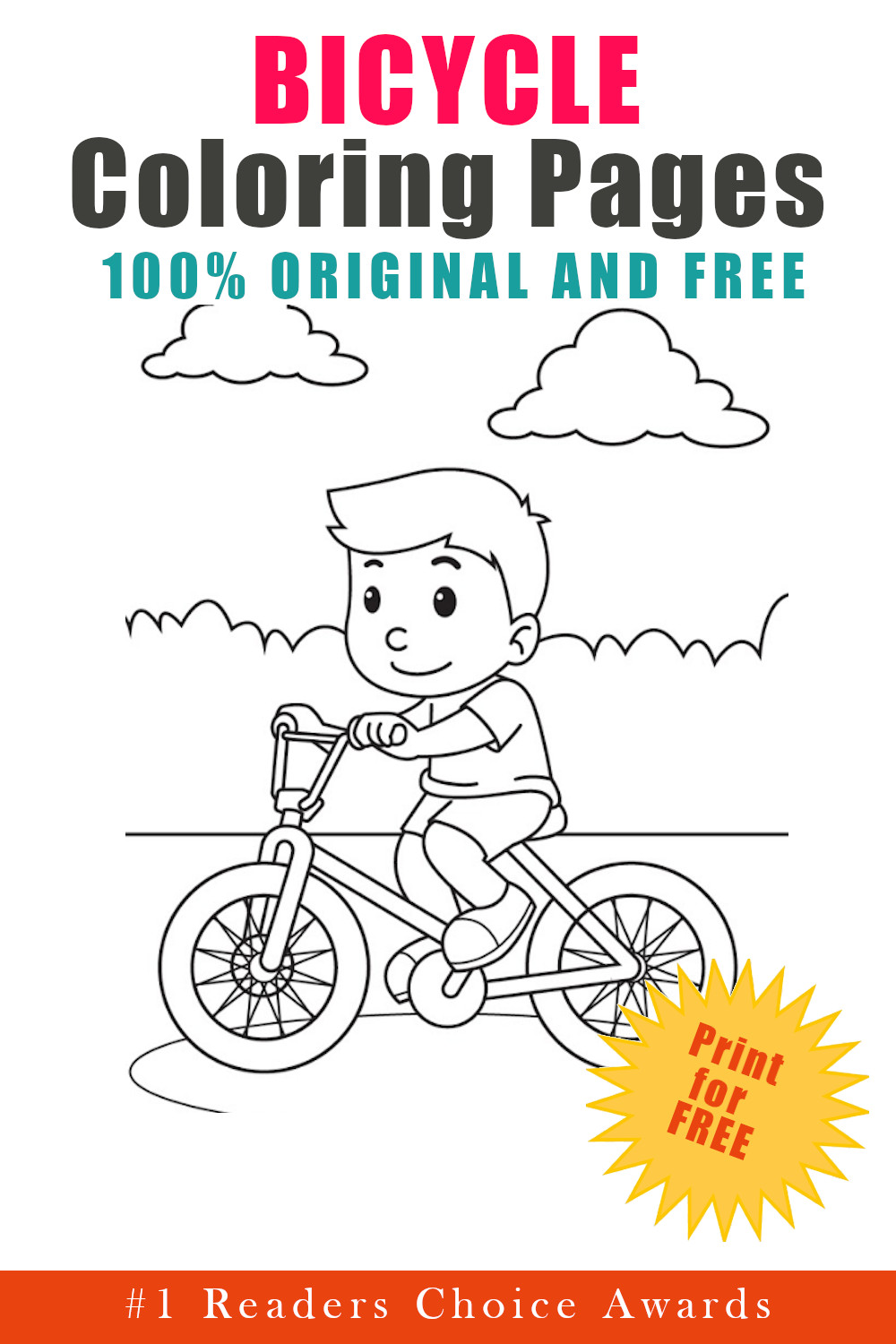 original and free bicycle coloring pages