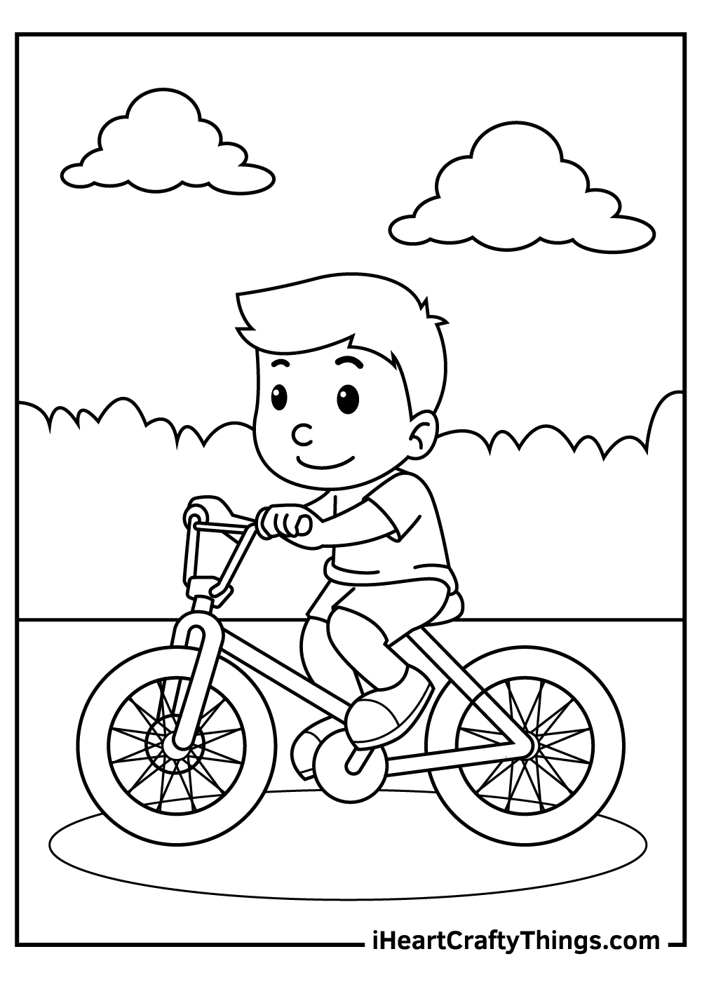 boy on a bicycle coloring pages free download