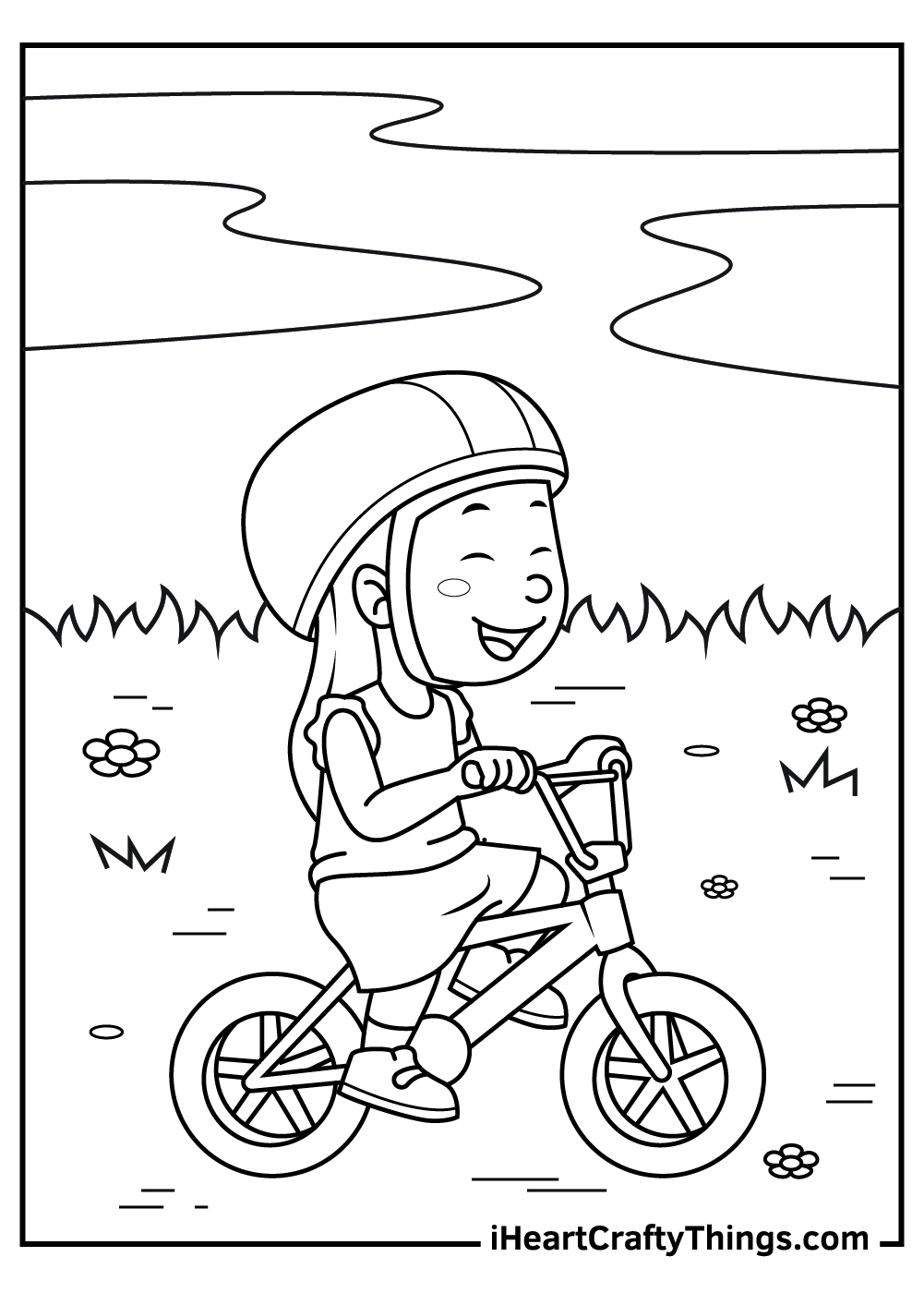 girl on a bicycle coloring pages free printable