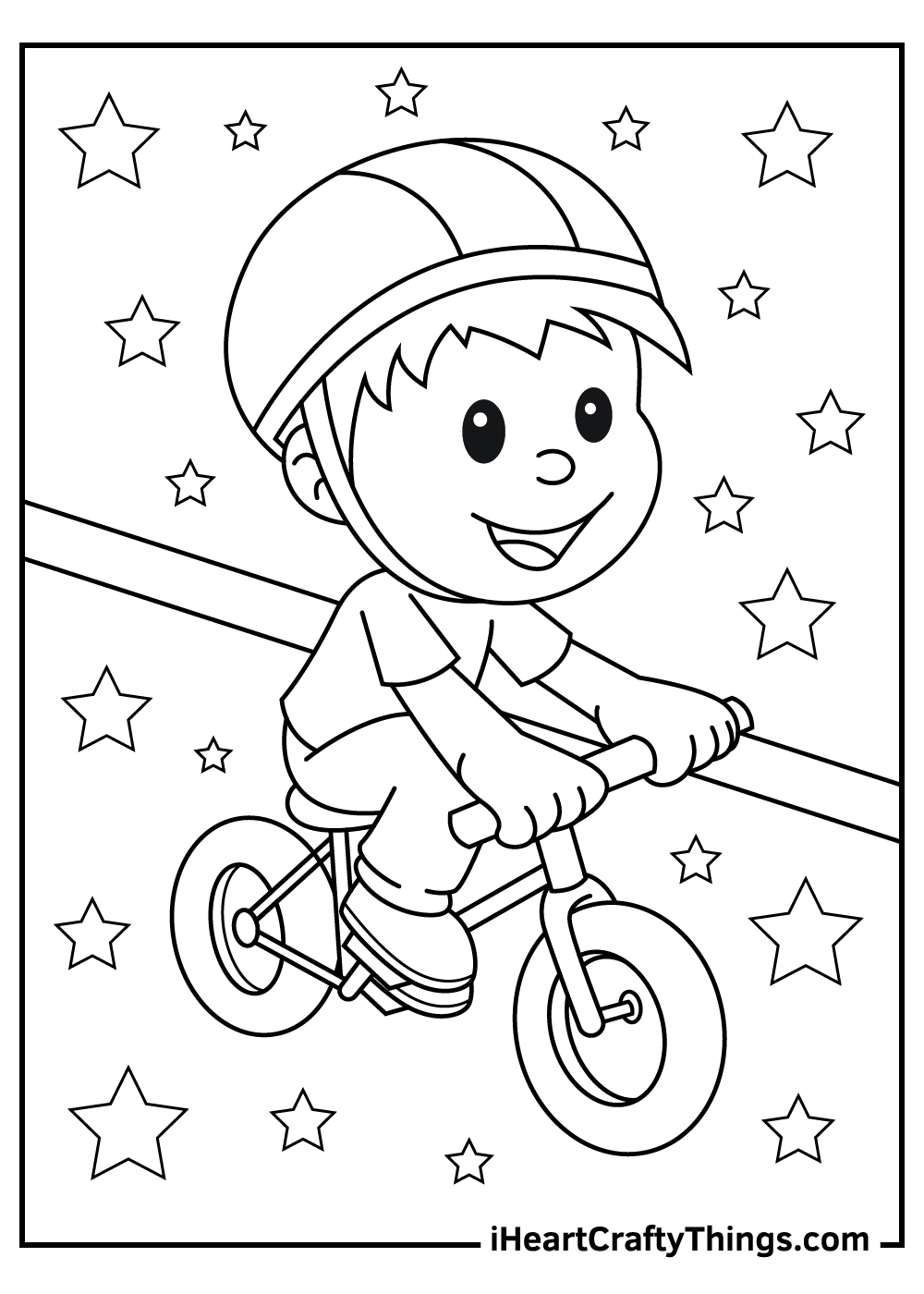 a child on a bike free bicycle coloring pages