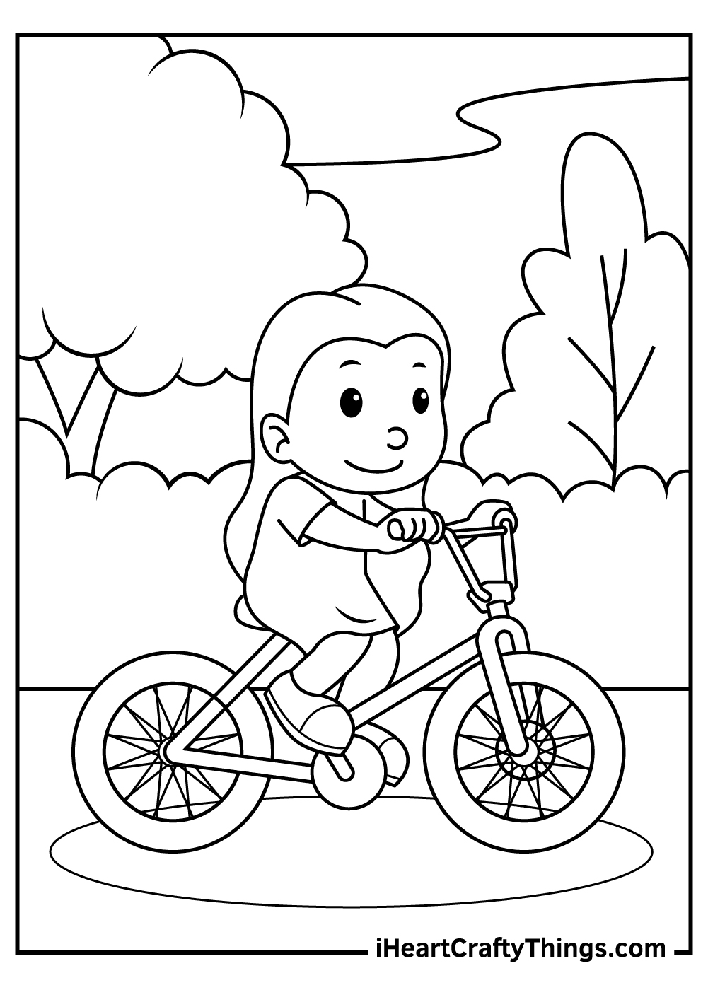 riding bicycle in nature coloring pages