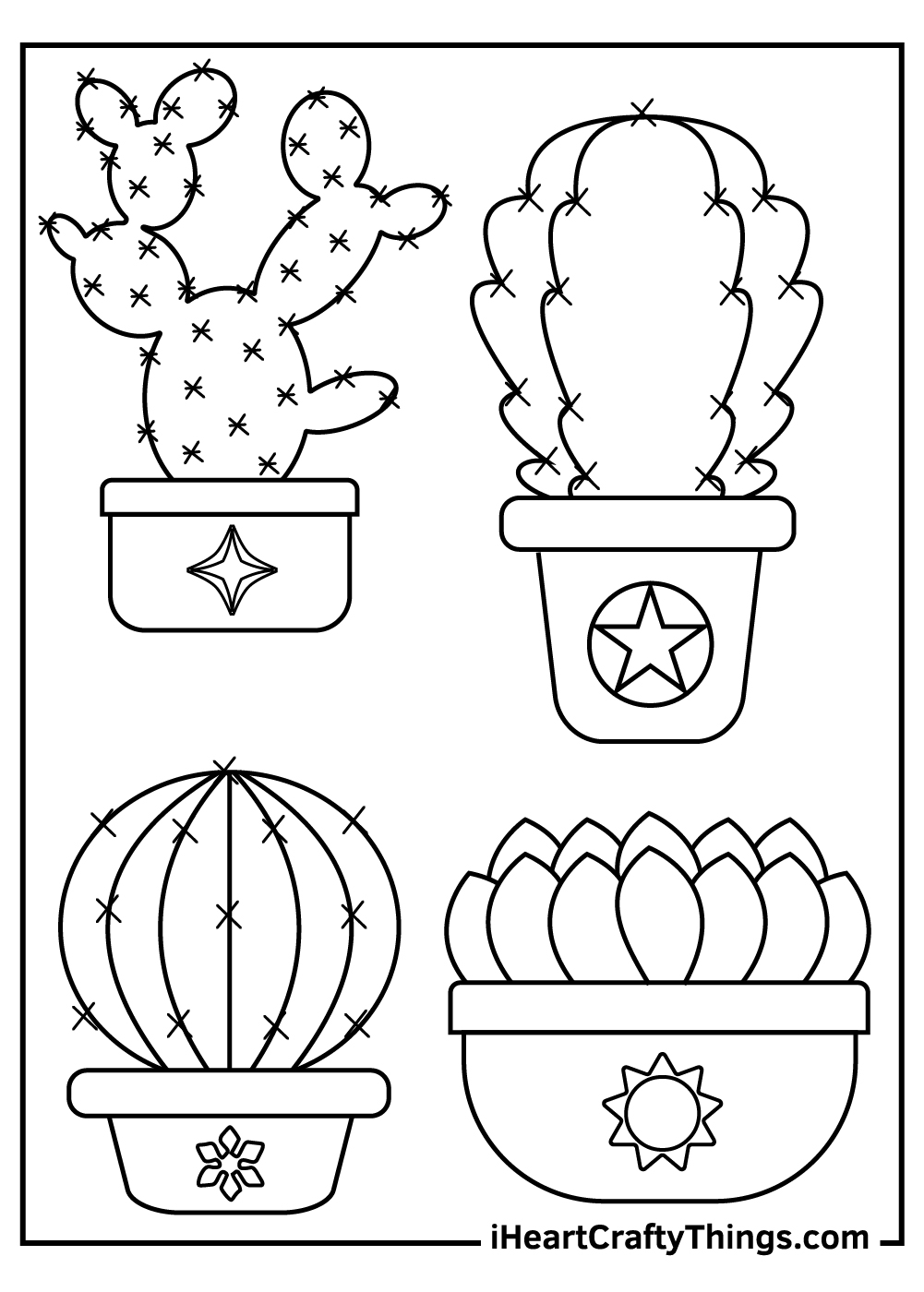 cute cactus coloring pages printable