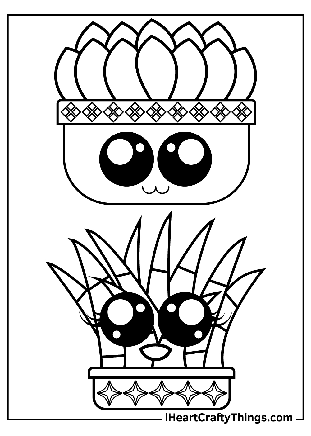 cute smiling cactus coloring pages