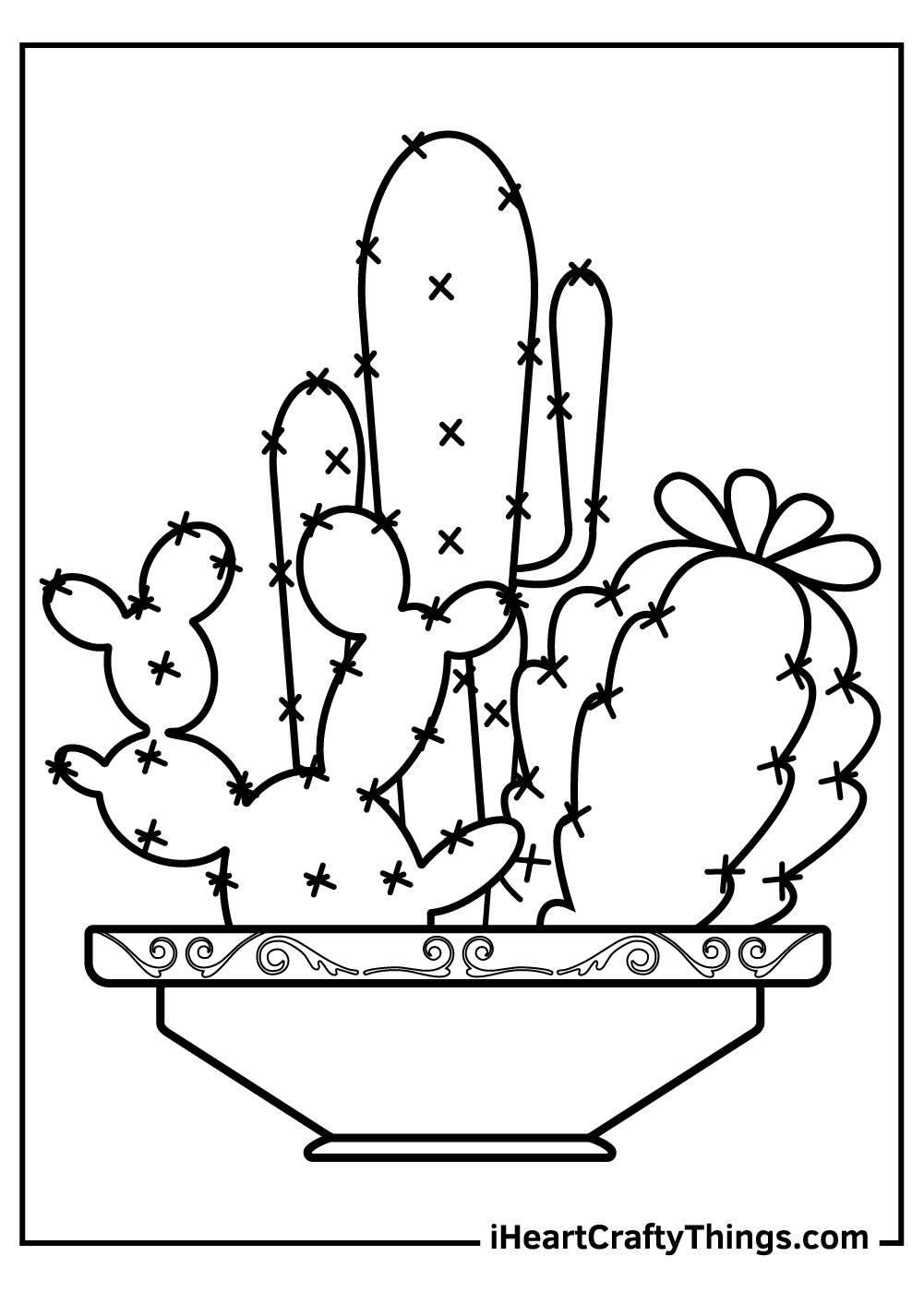 free printable cute cactus coloring pages