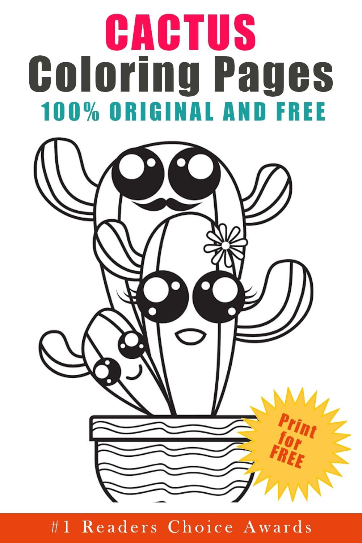 original free cactus coloring pages