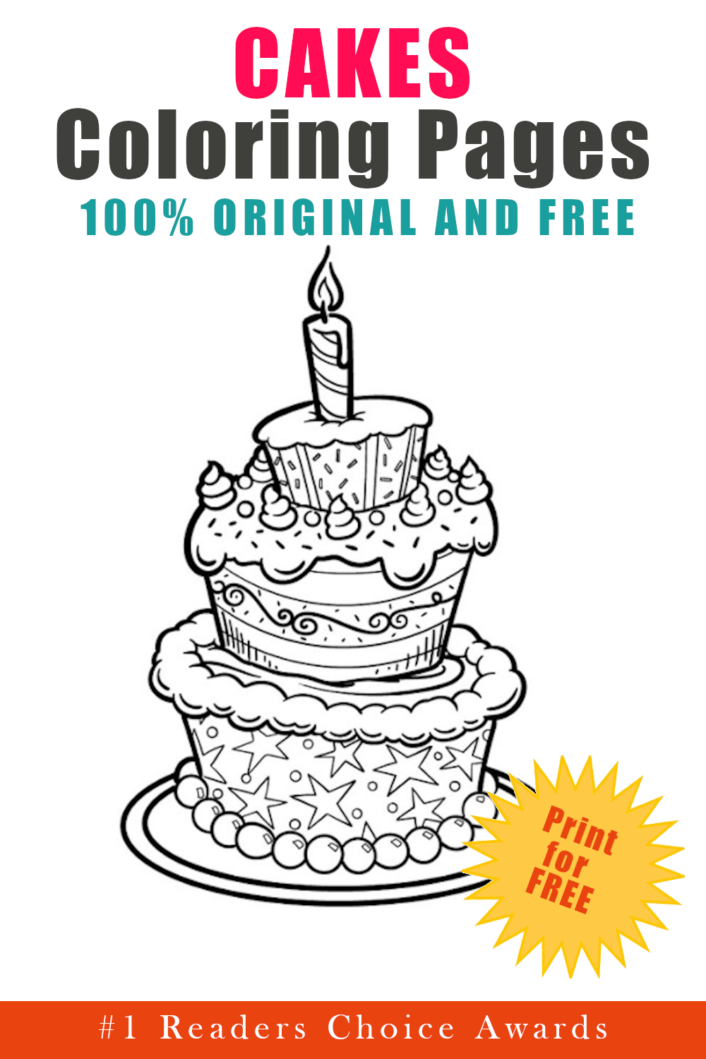 original and free cakes coloring pages