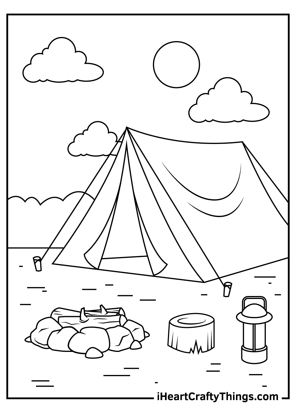 easy camping coloring pages for toddlers