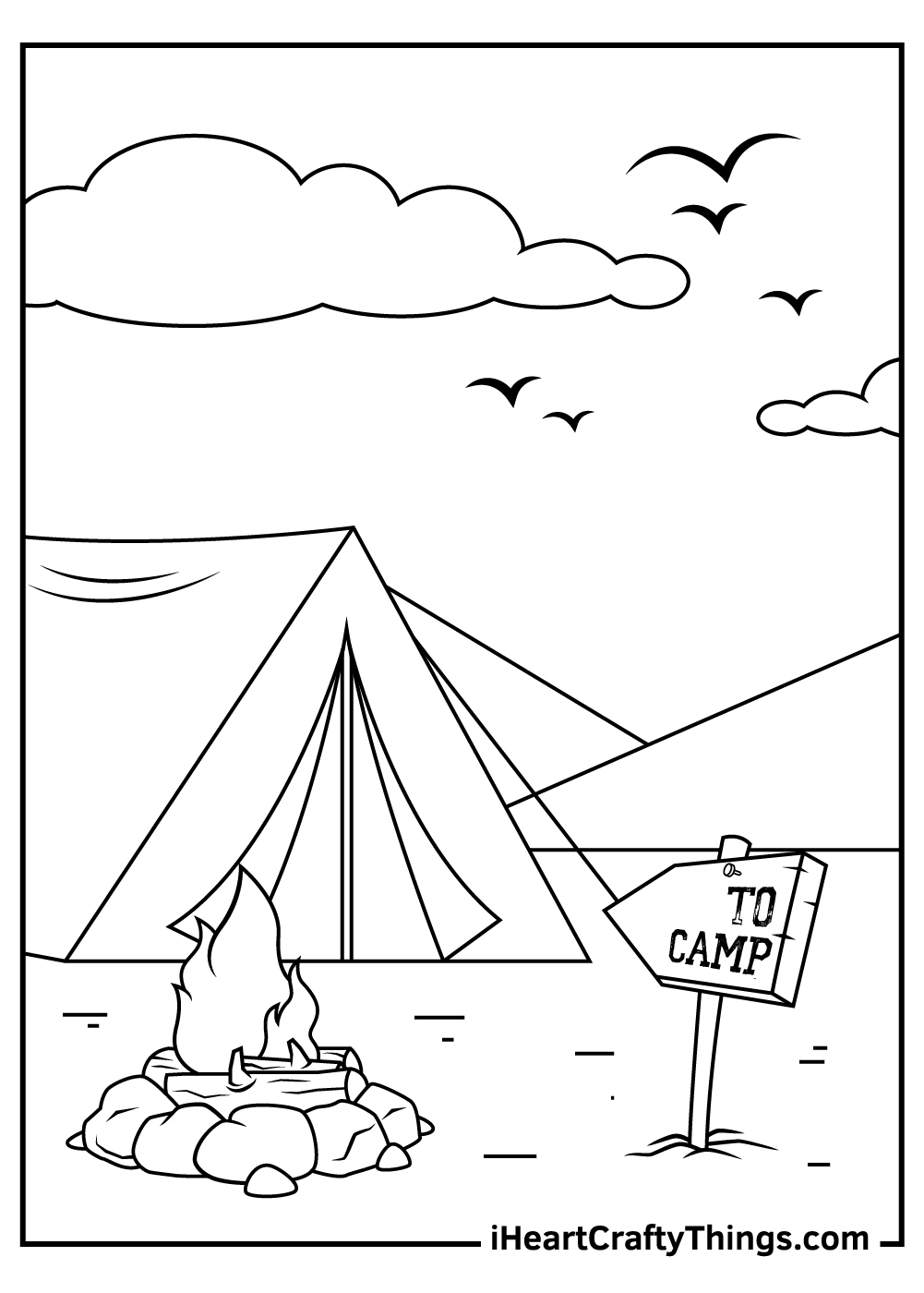 children camping coloring pages free printable