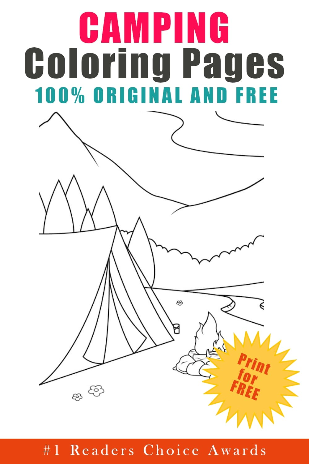 original and free camping coloring pages