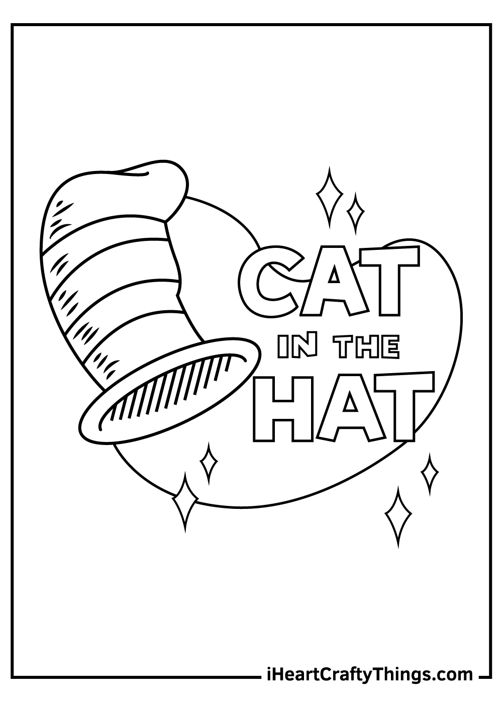 preschool cat in the hat coloring pages