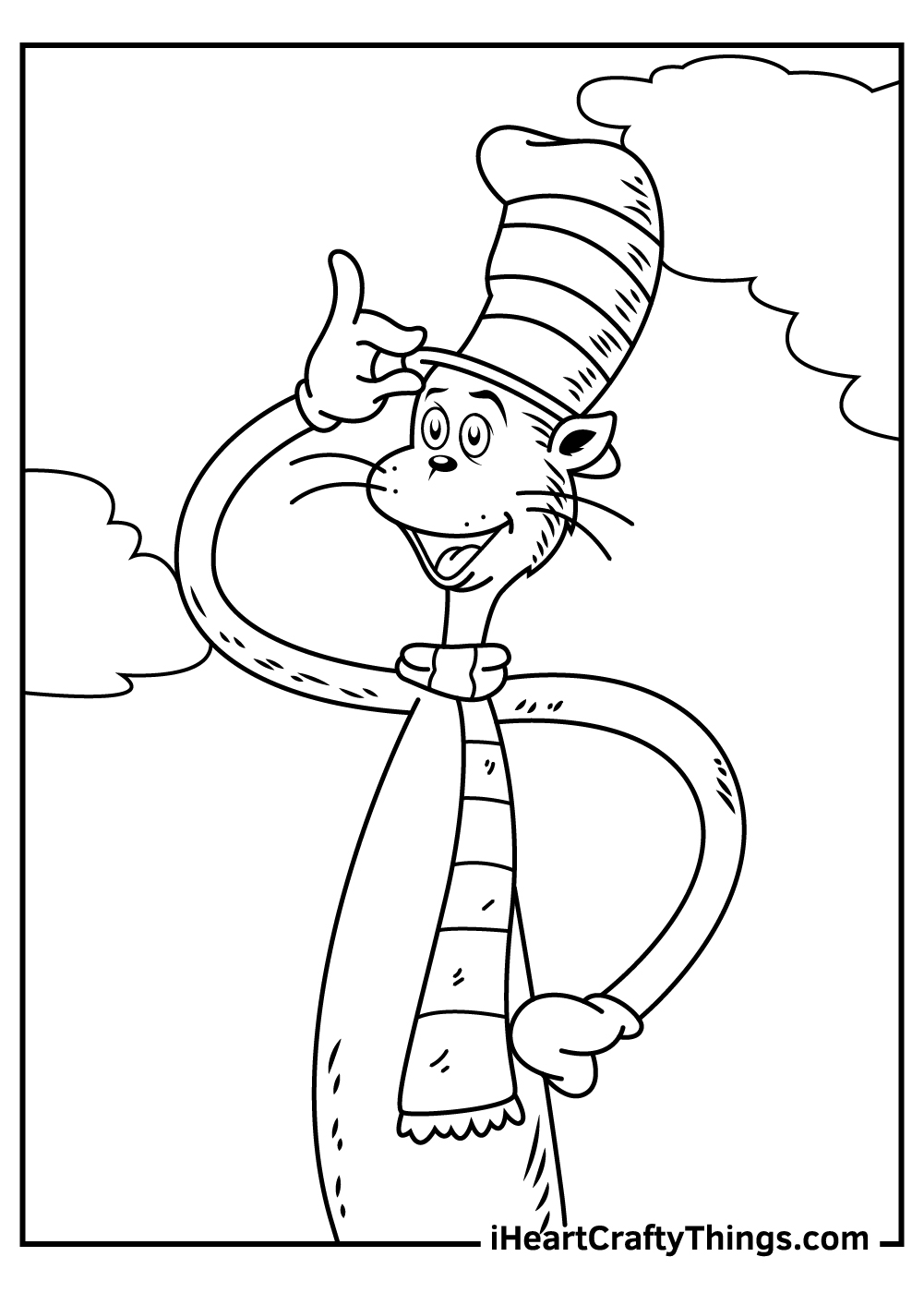 easy cat in the hat coloring pages free printable
