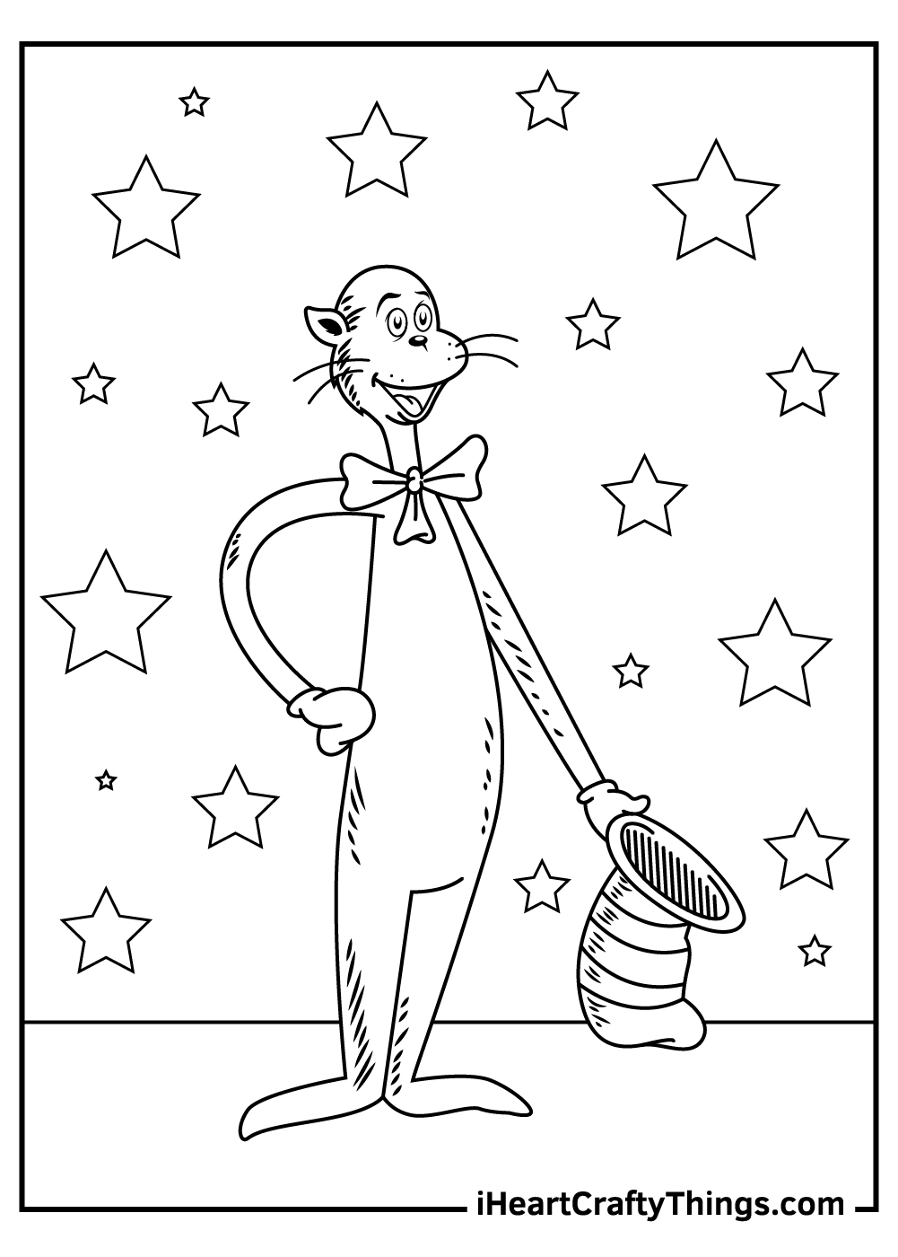 cat in the hat coloring pages simple