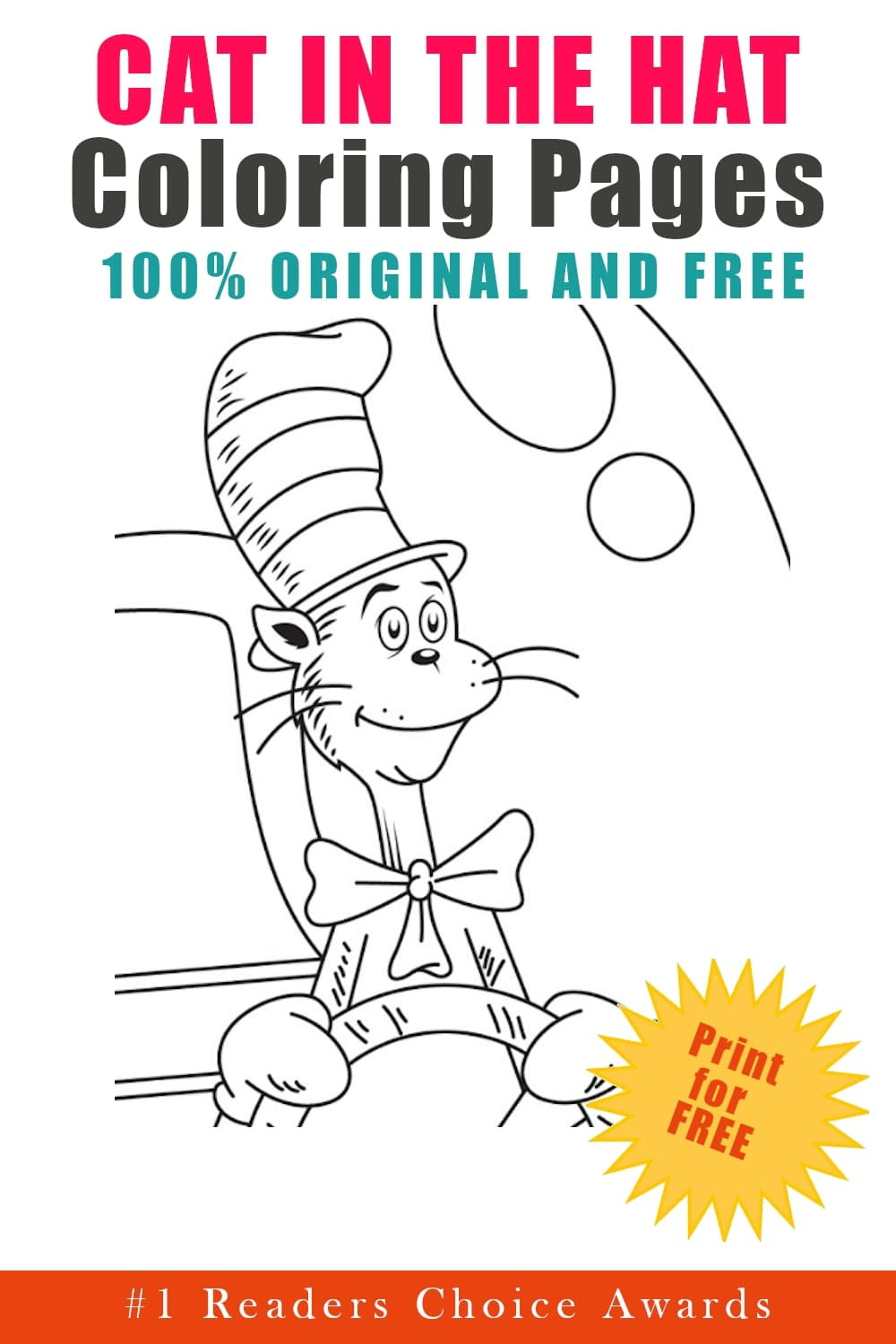 original and free cat in the hat coloring pages