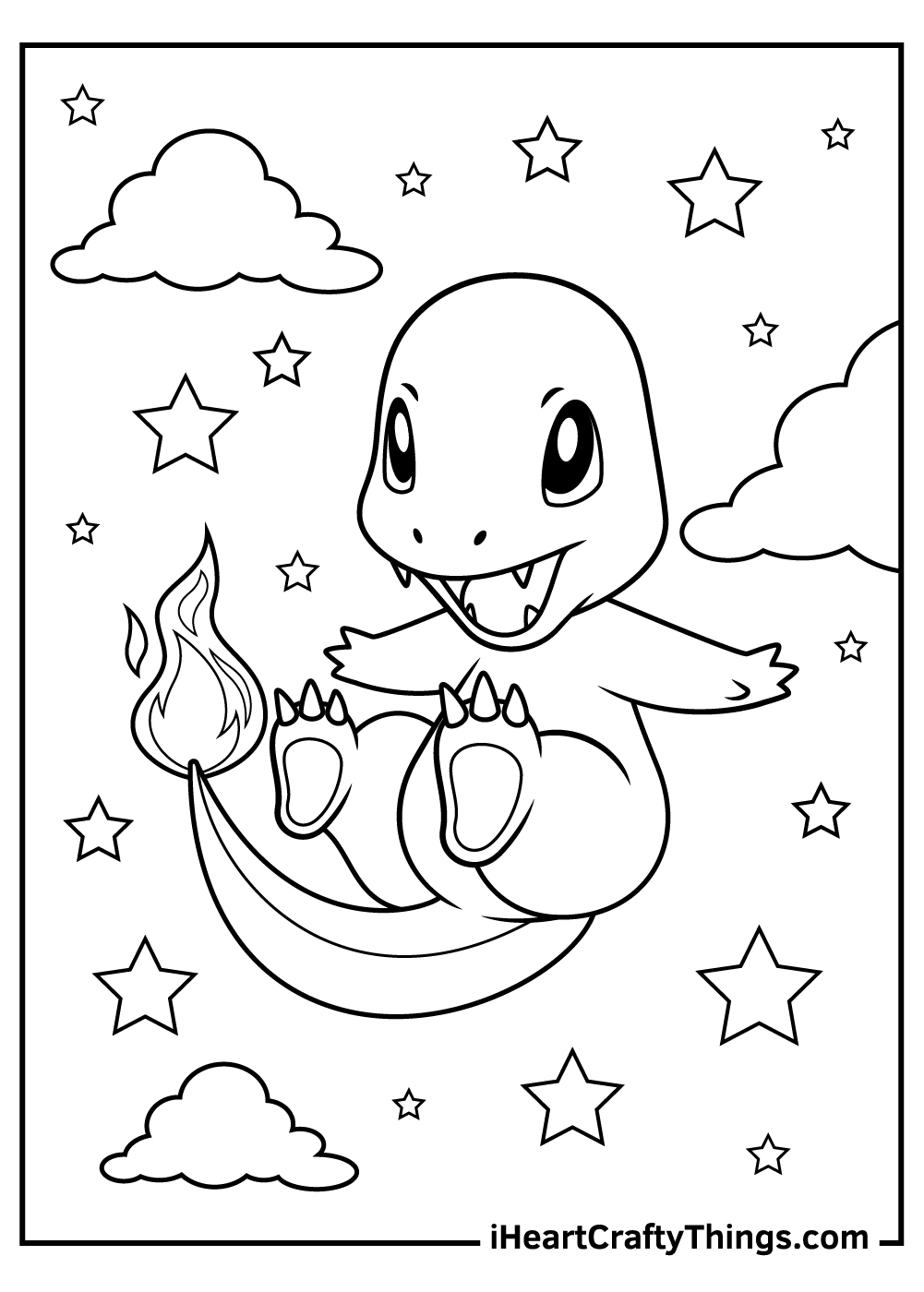 black and white charmander coloring pages free printable