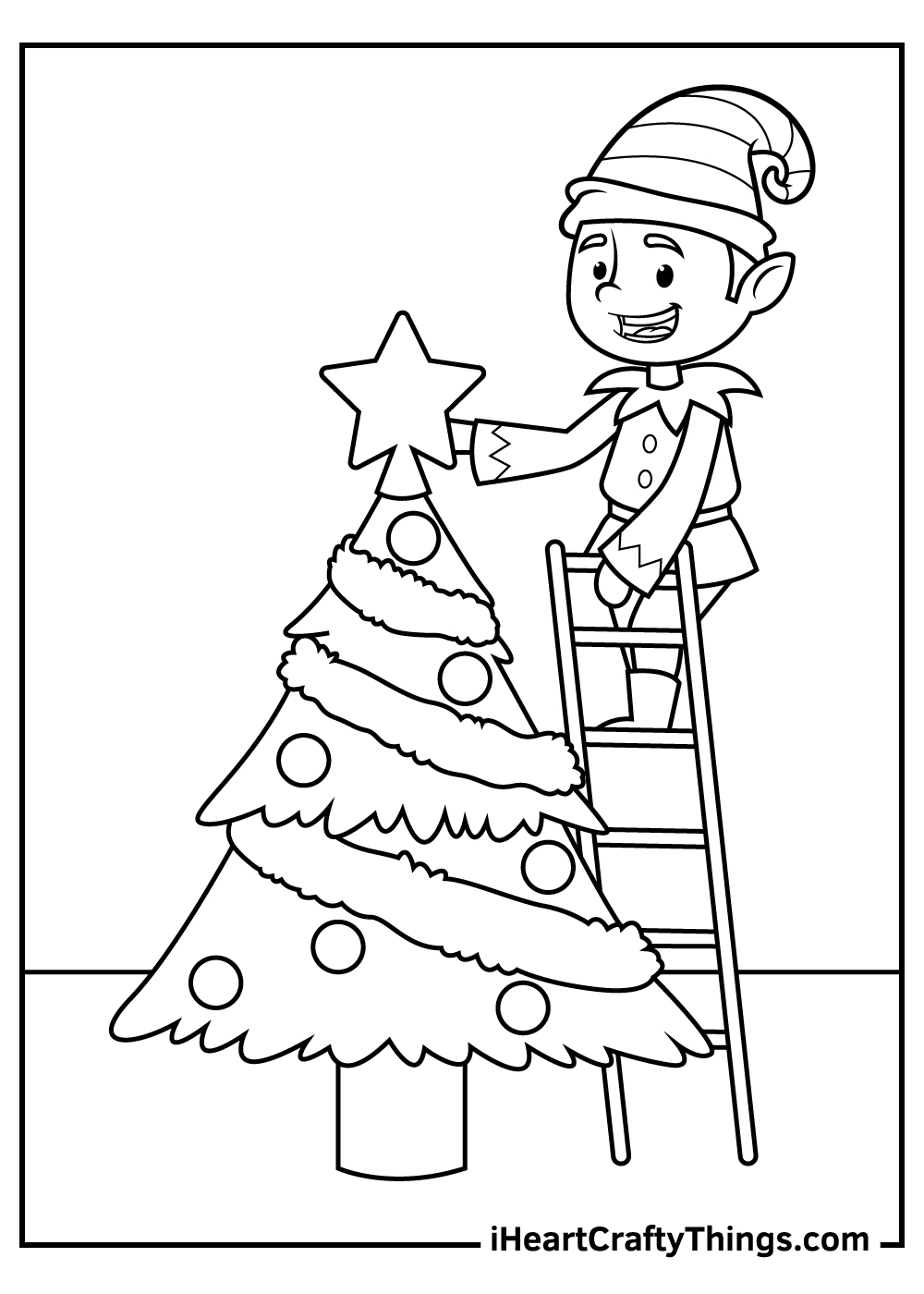 christmas elves coloring pages free