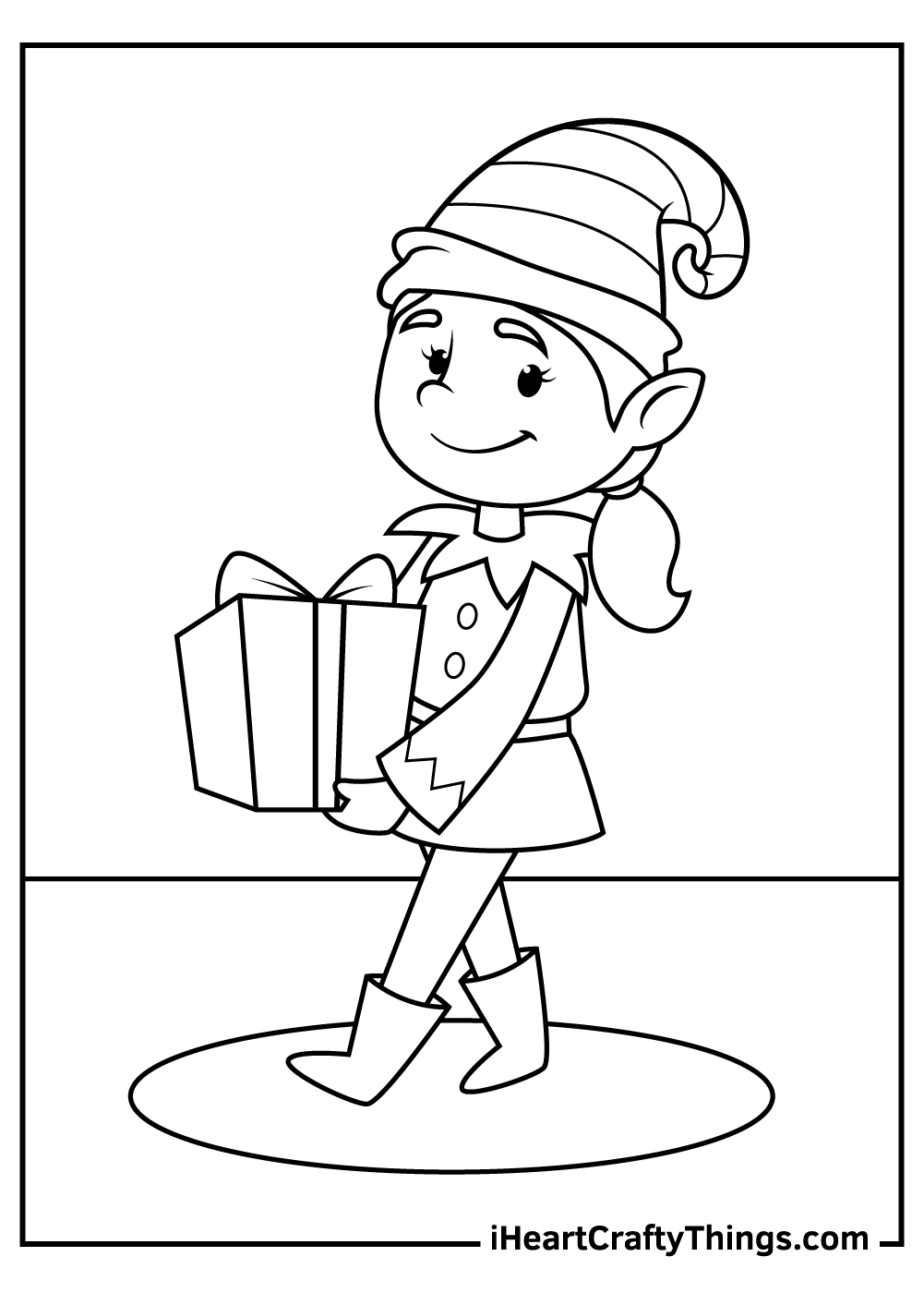 christmas elves coloring pages to print