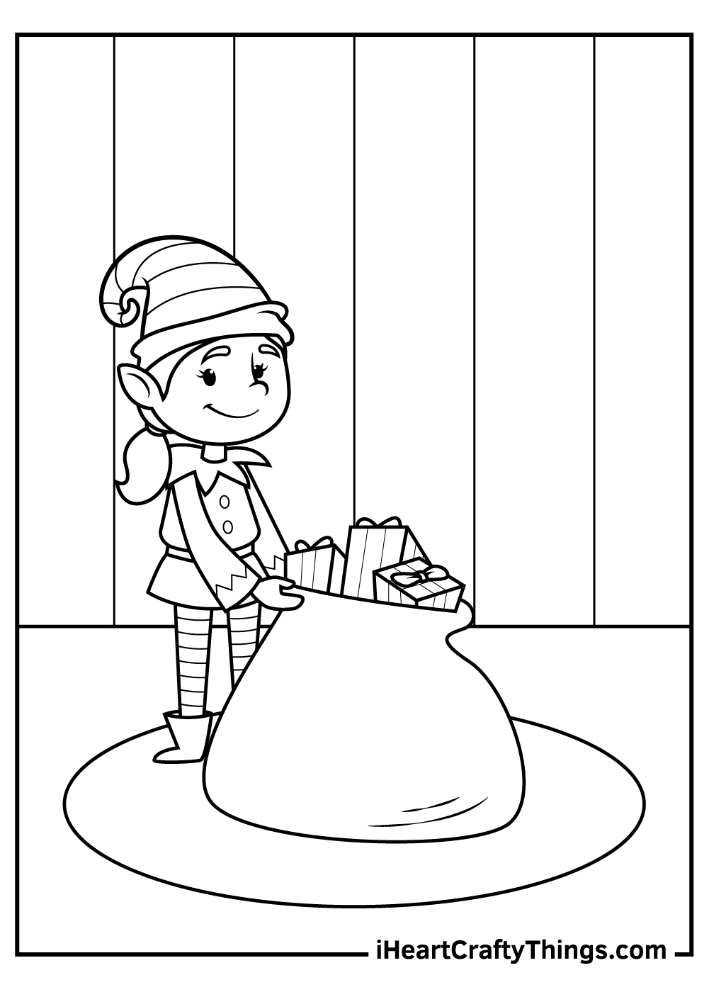 printable christmas elves coloring pages