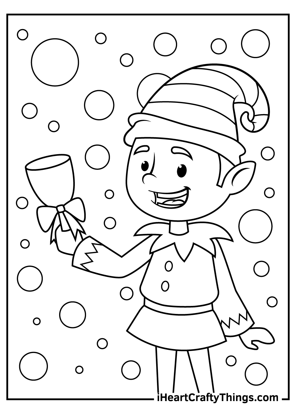 free christmas elves coloring pages for kids
