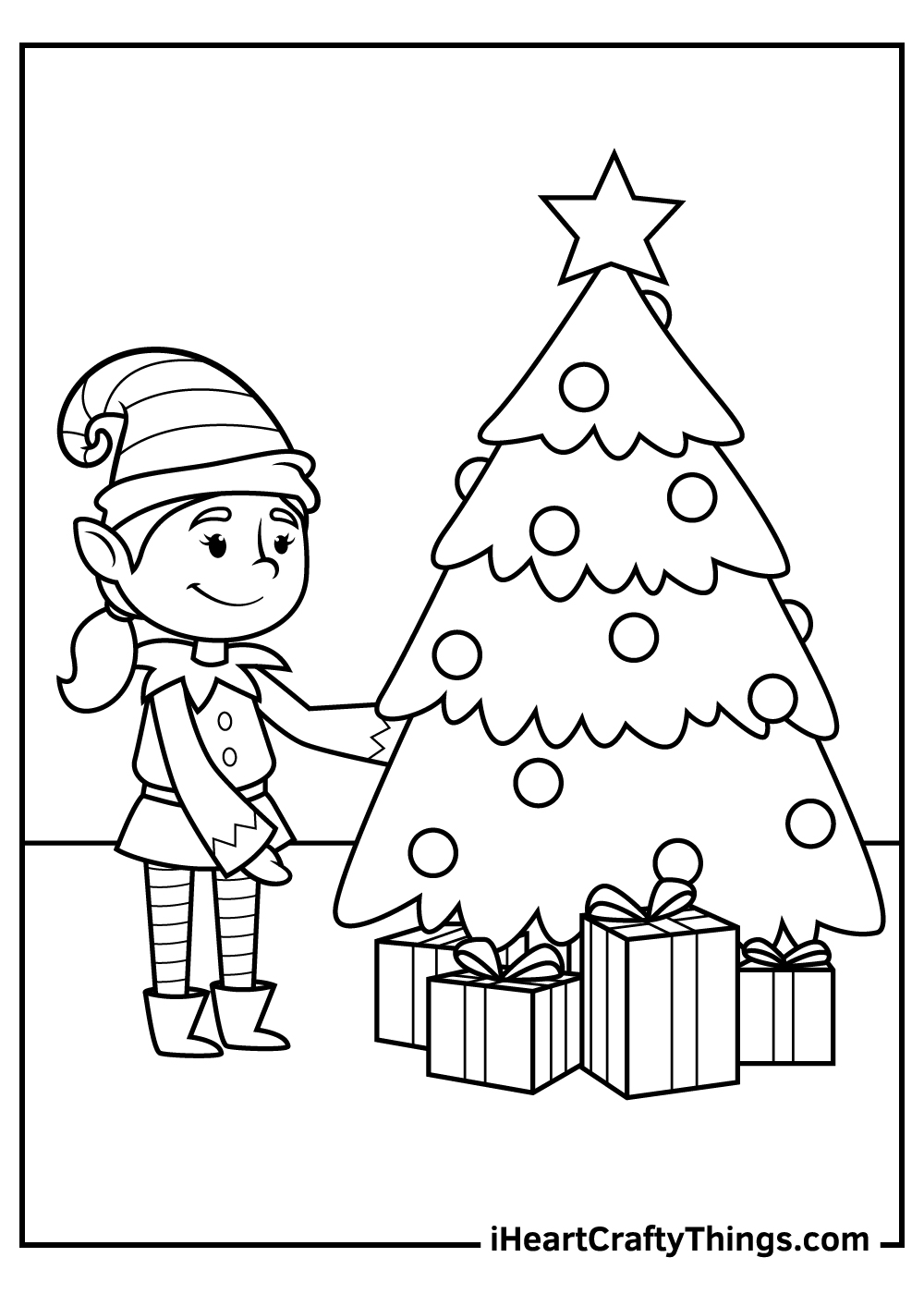 religious christmas elves coloring pages