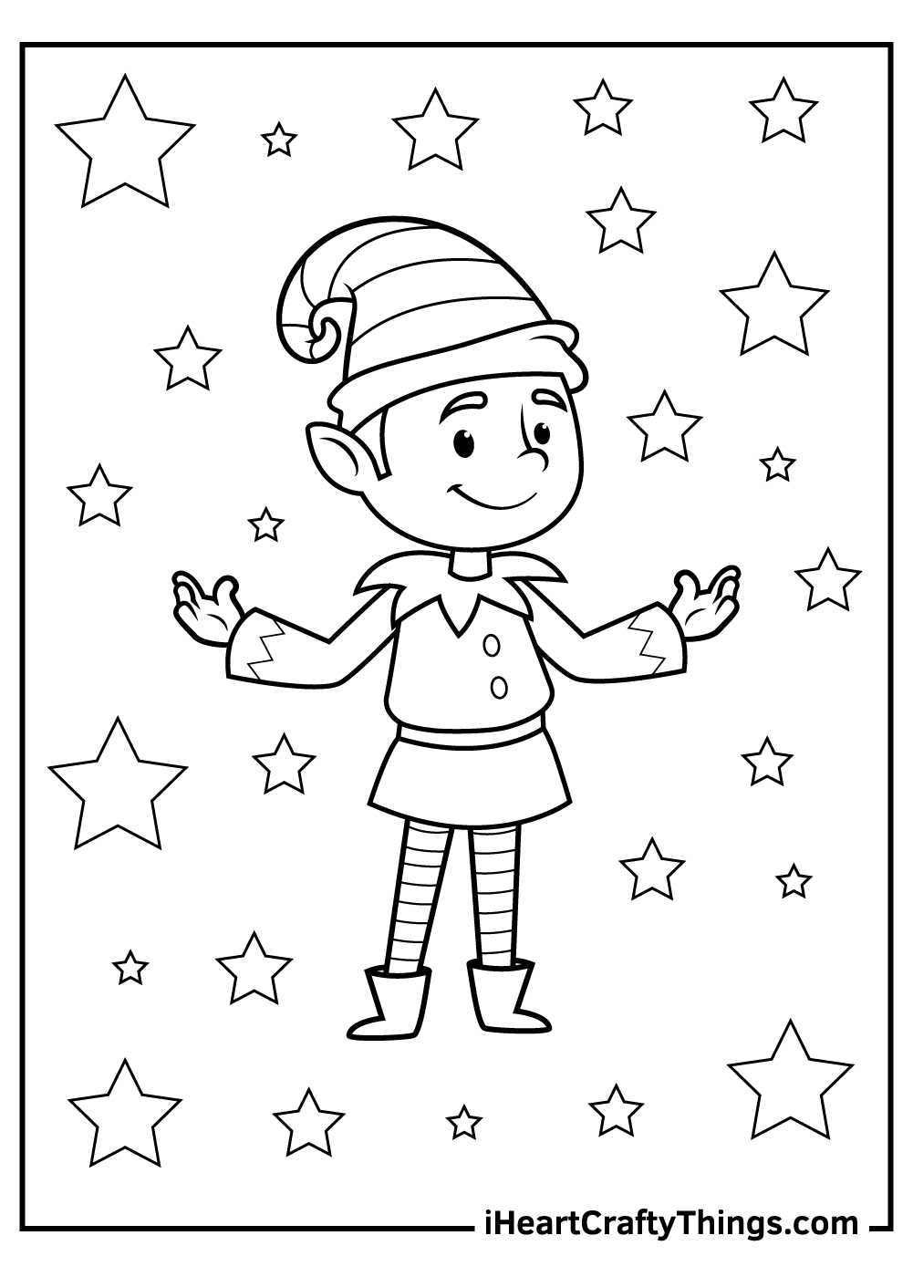 christmas elves coloring pages for toddlers