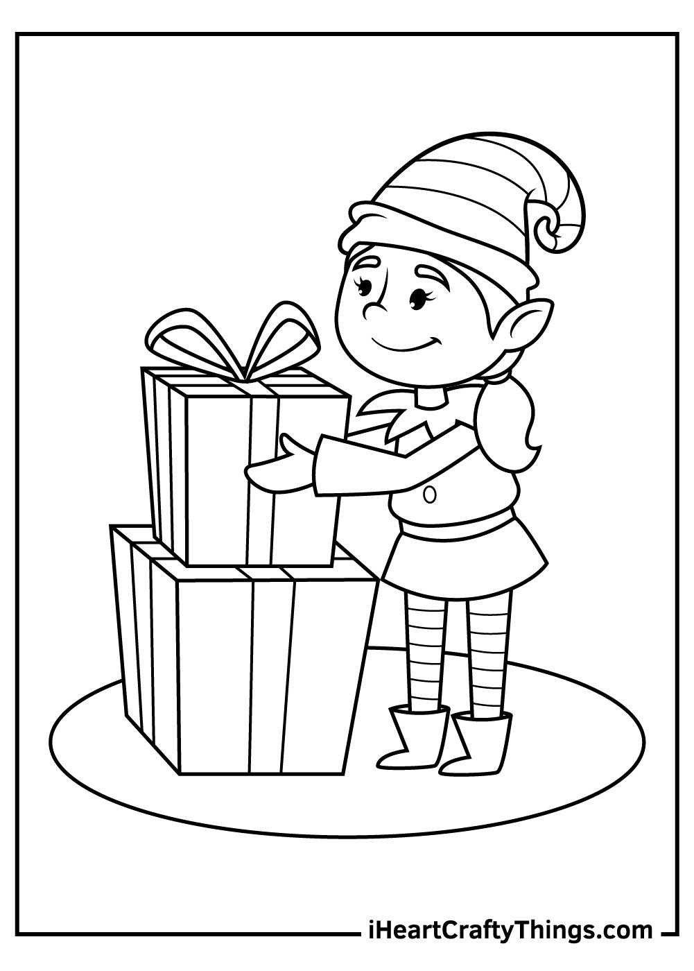 girl christmas elf coloring pages printable