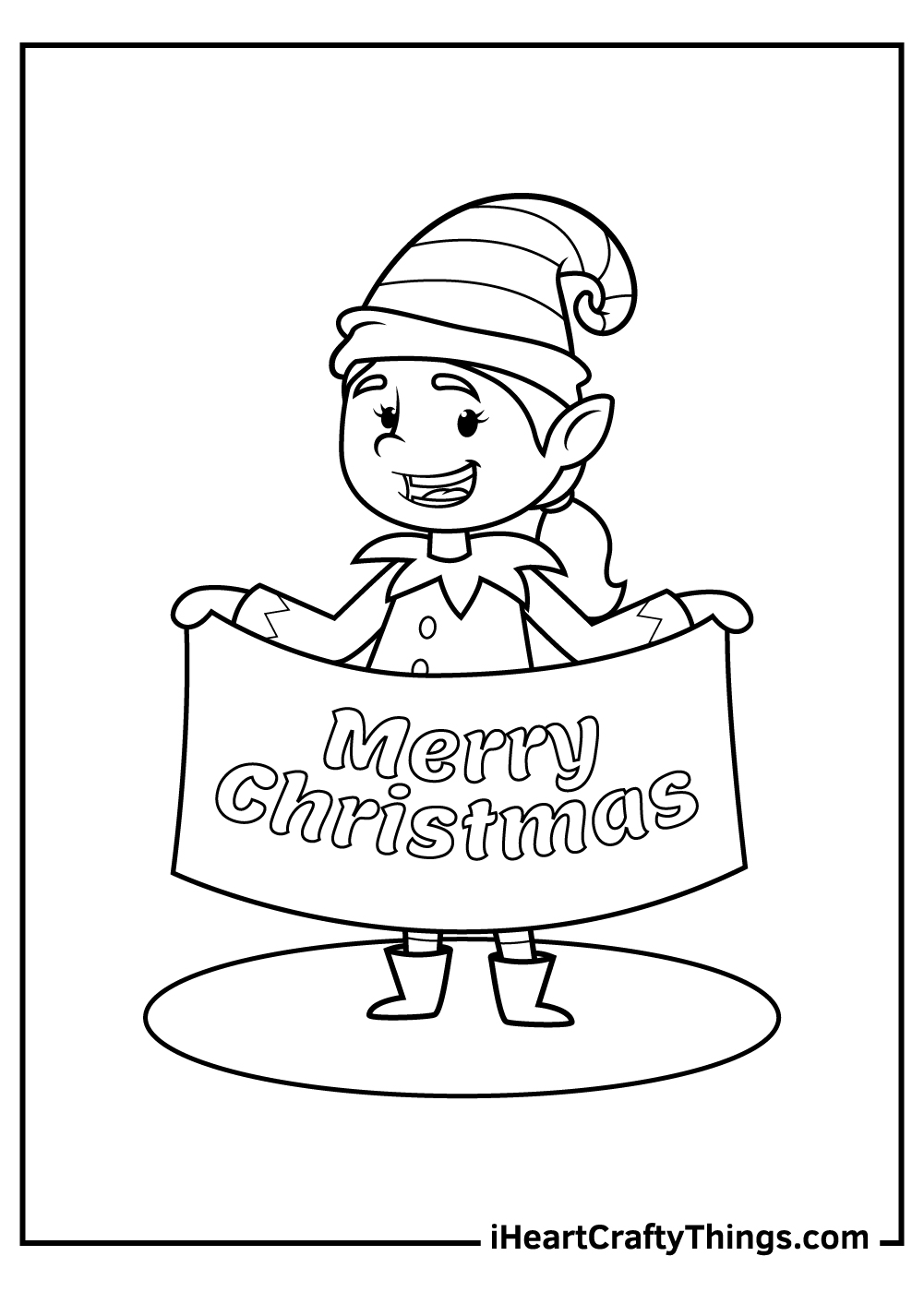 cute and funny christmas elves coloring pages
