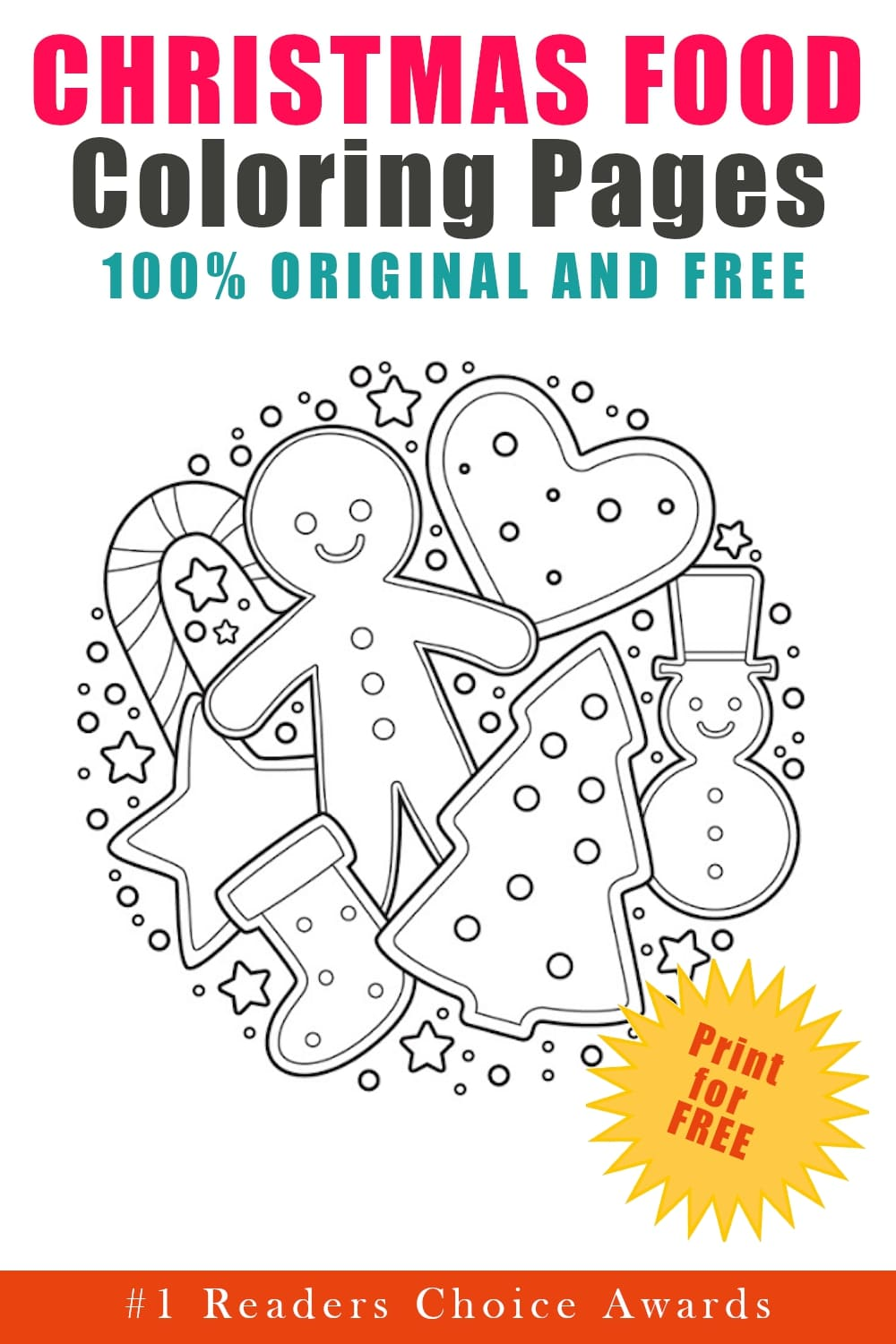 original and free christmas food coloring pages