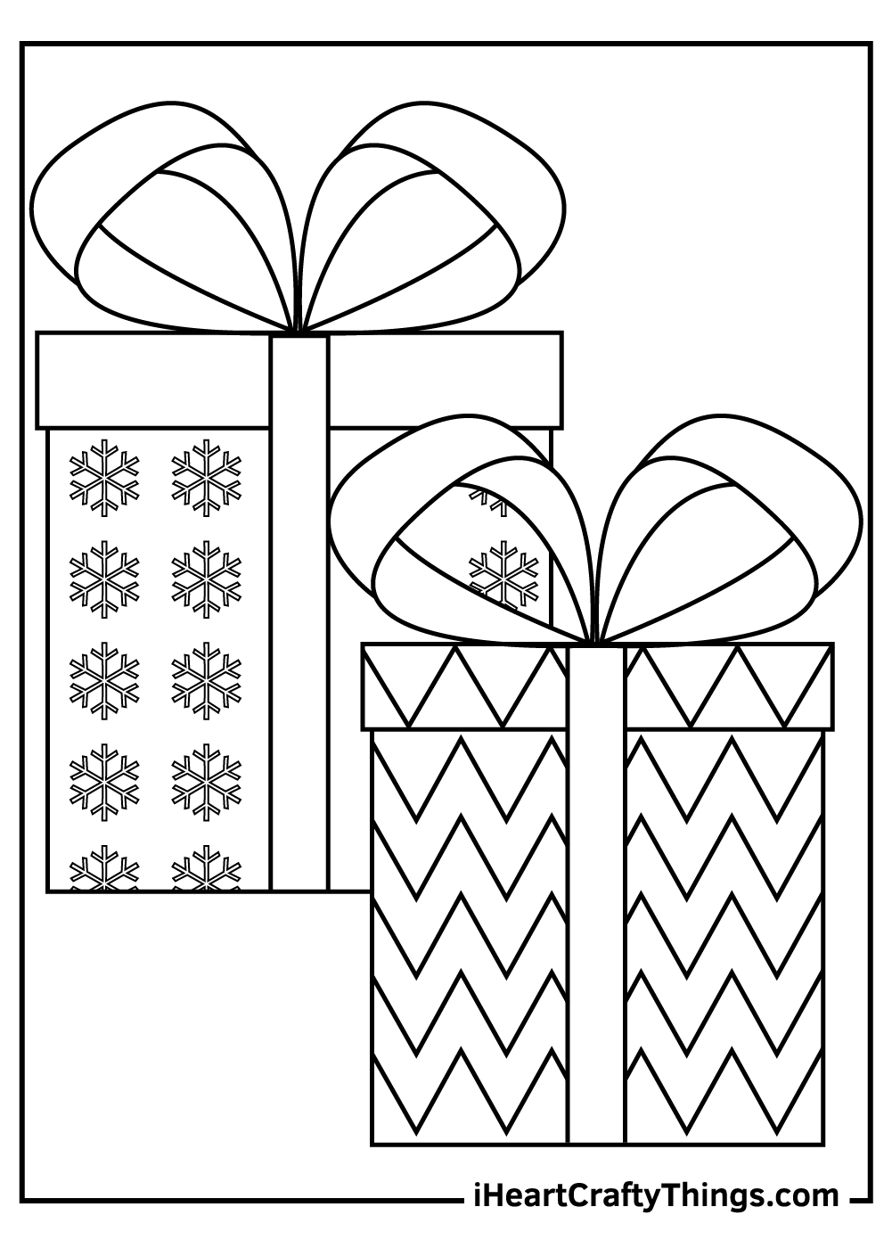 black and white christmas presents coloring pages