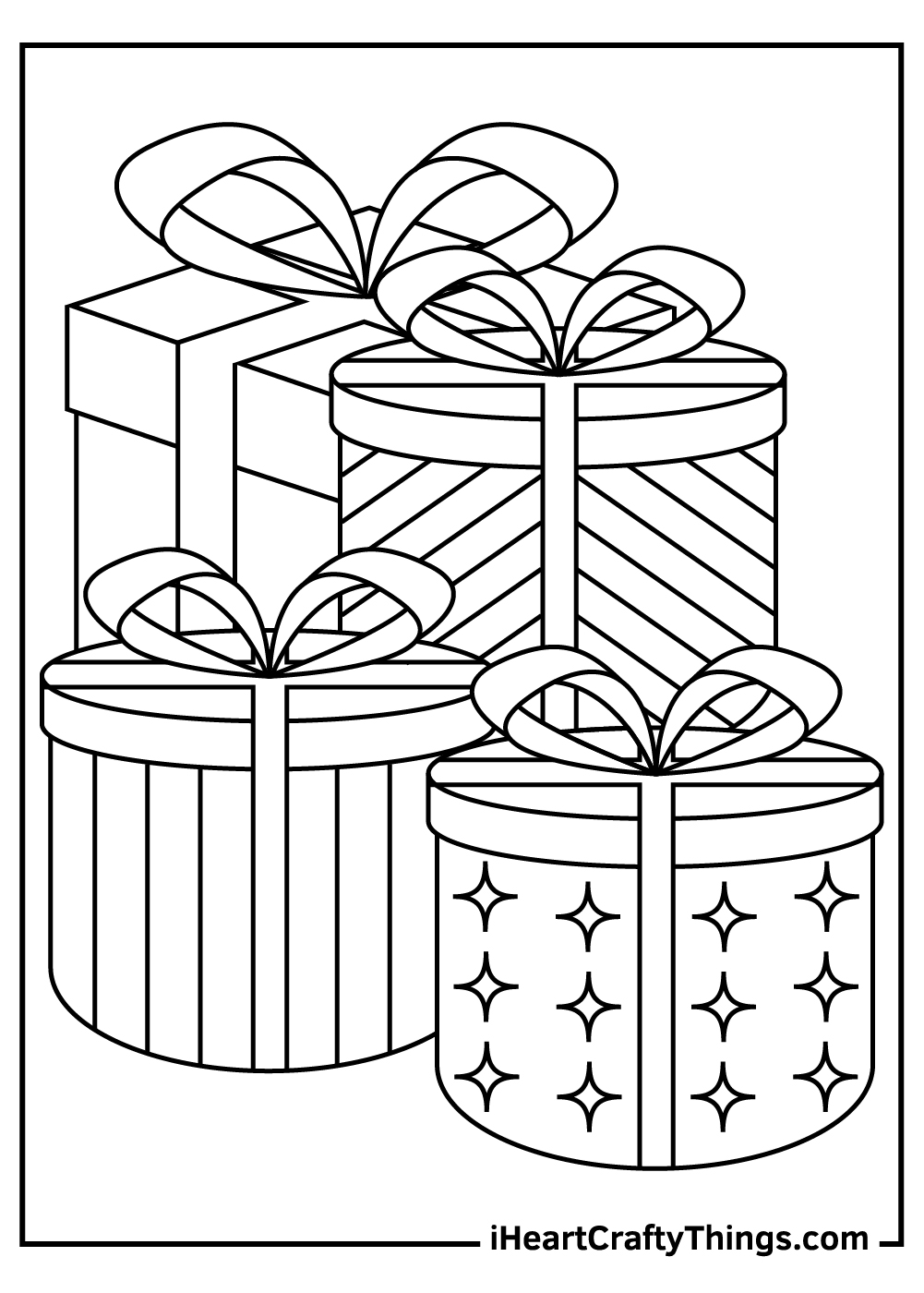 four christmas presents coloring pages free download