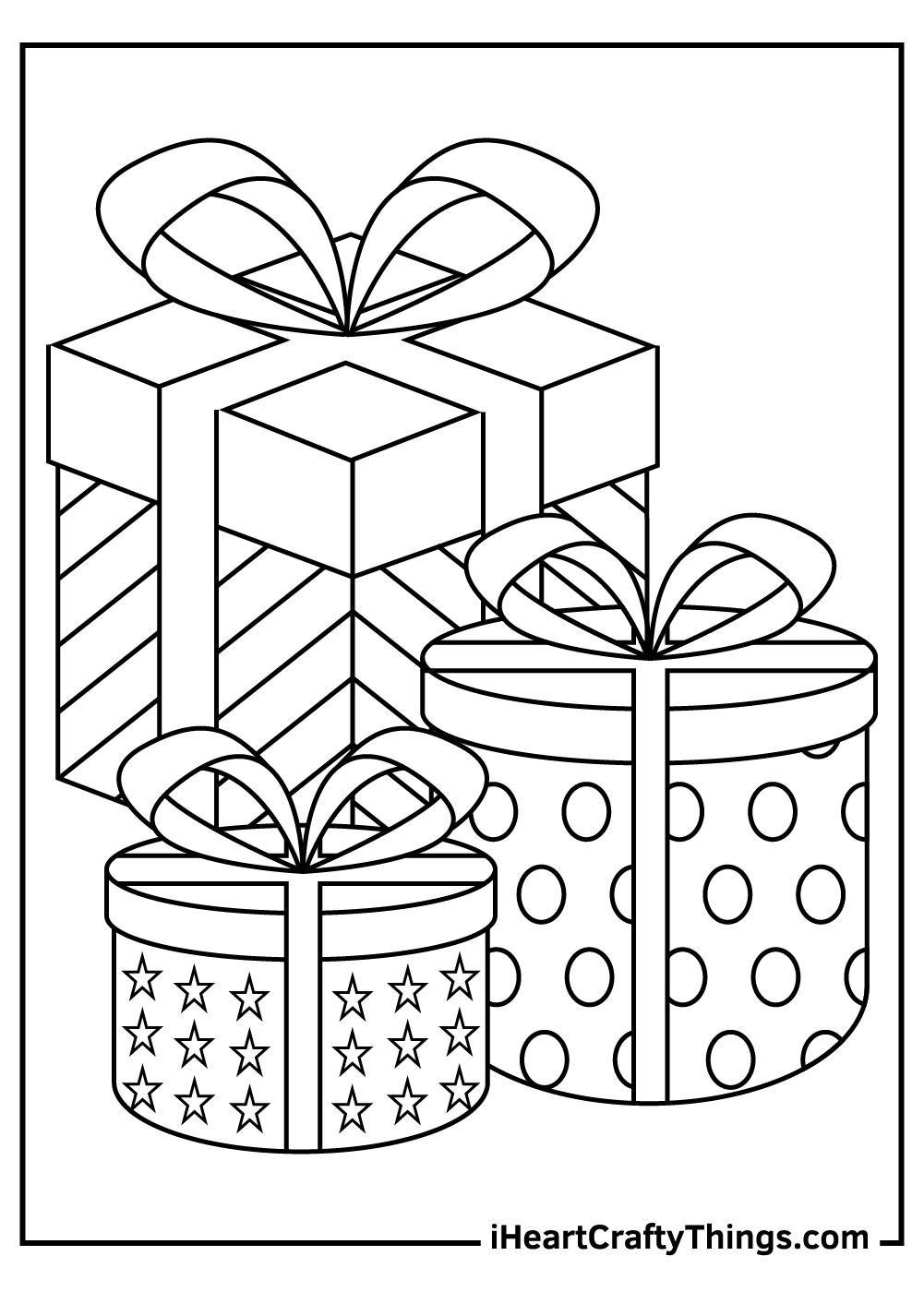 three christmas presents coloring sheet free printable
