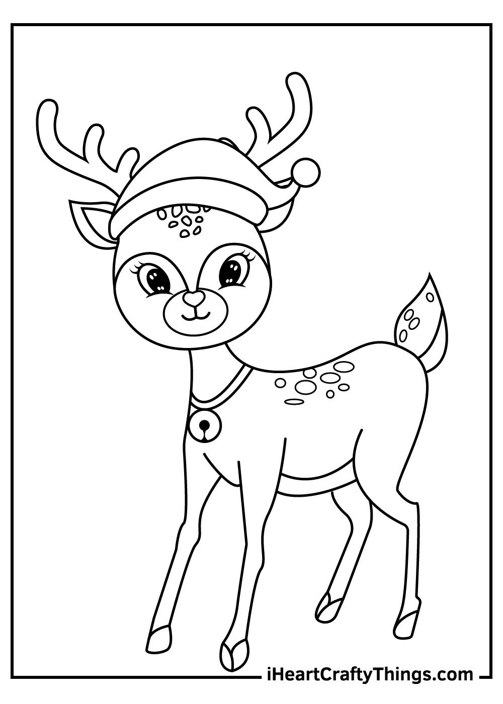 santa claus' reindeers coloring pages free printable